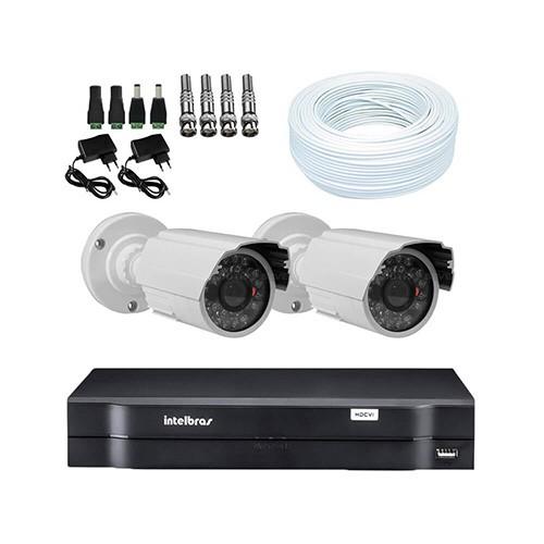 KIT DVR Intelbras + 02 Câmeras Infra 1200 Linhas Resolução + Acessórios