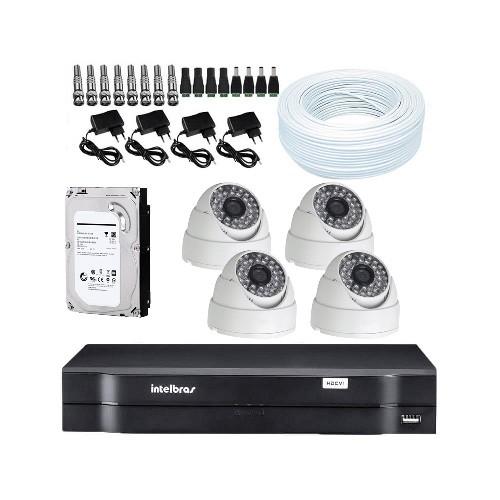 KIT DVR Intelbras MHDX + 4 Câmeras Dome 1200 Linhas + HD + Acessórios
