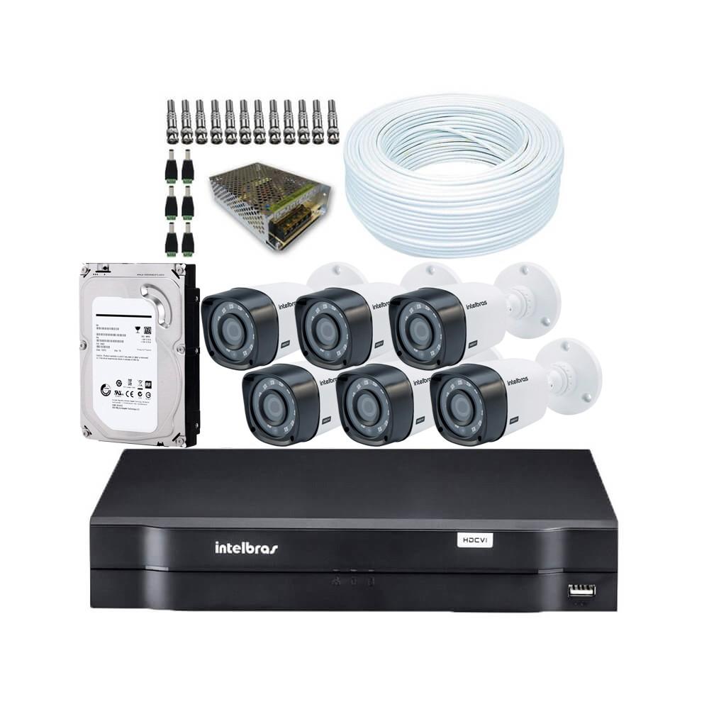 KIT DVR Intelbras MHDX + 6 Câmeras VHD 1010 B G3 + HD + Acessórios. (Instale você mesmo)