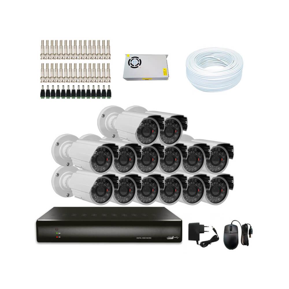 KIT DVR Resolução WD1 +14 Câmeras 1200 Linhas + Acessórios