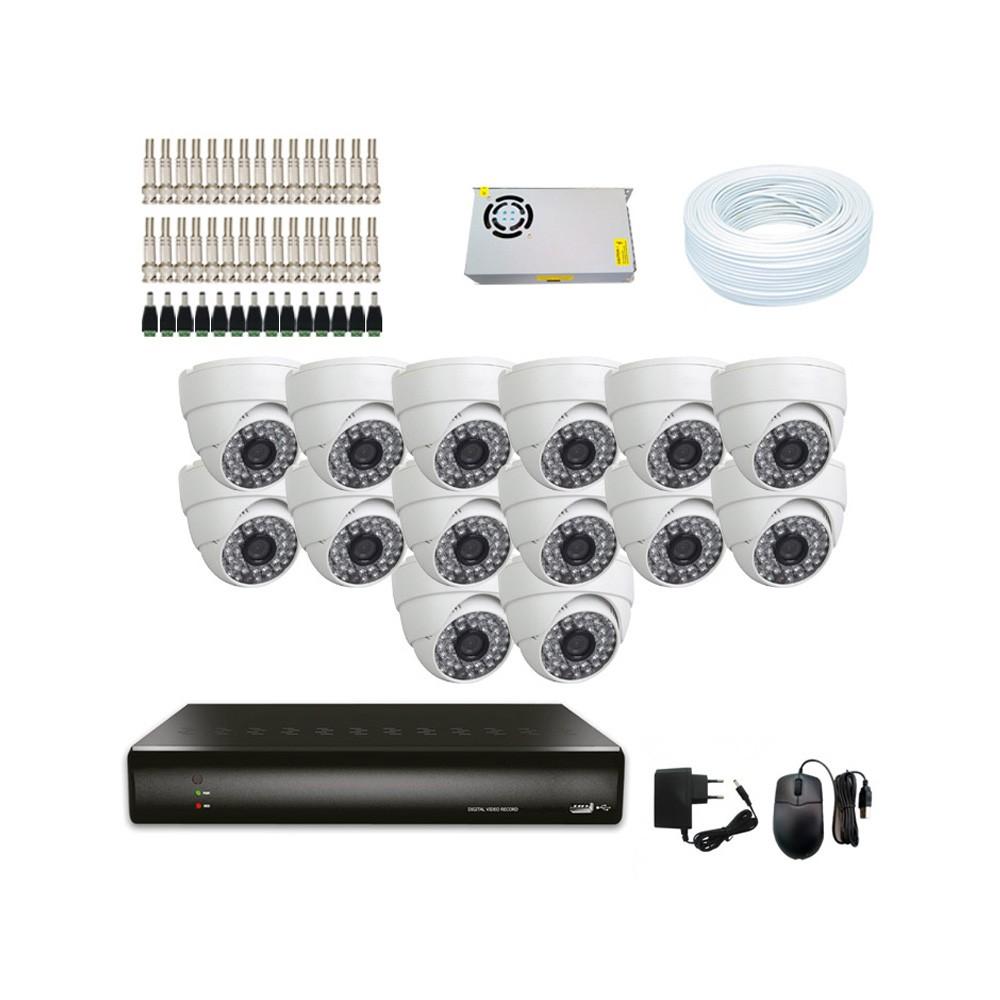 KIT DVR Resolução WD1 +14 Câmeras Dome 1200 Linhas + Acessórios