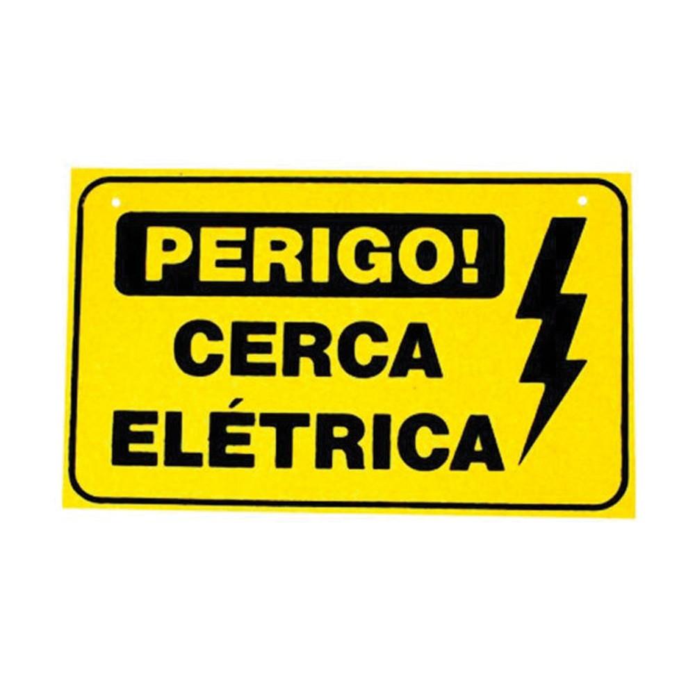 Placa de Advertência Cerca Elétrica de Plástico