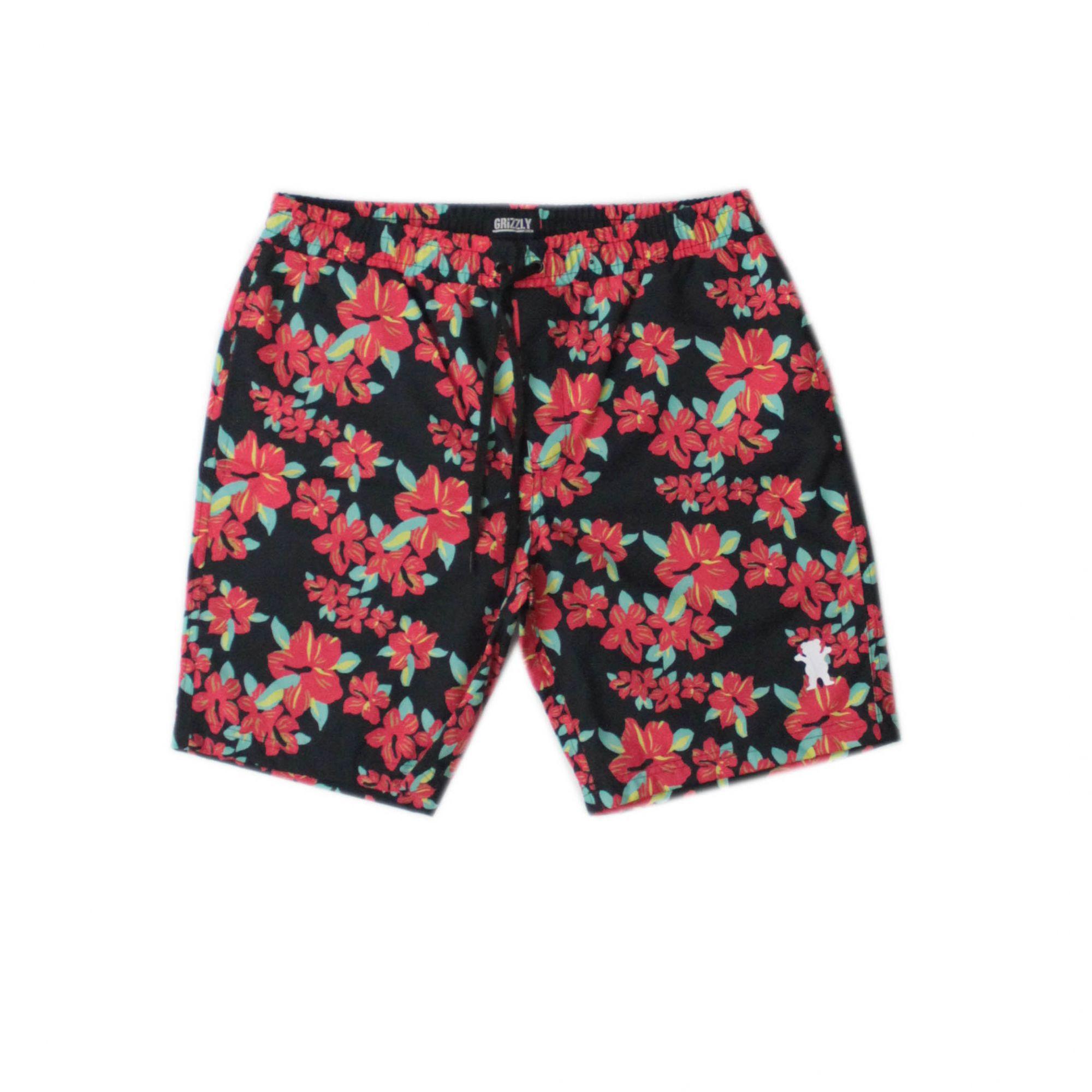 Bermuda Short Grizzly Hibisco - Floral Preto