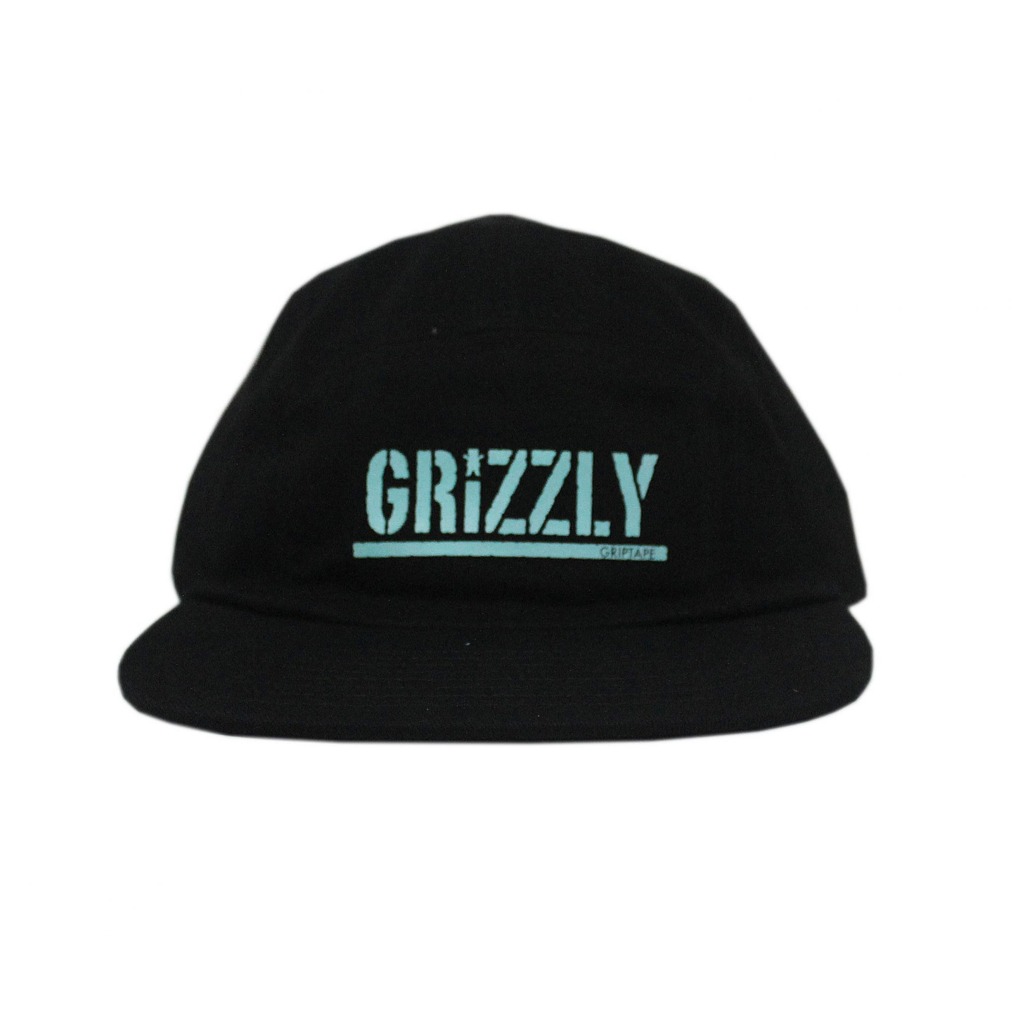 Boné Grizzly Five Panel Stamped Camper Unstructer Clip Preto