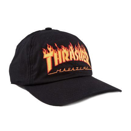 Boné Thrasher Magazine Dad Hat Flame - Preto