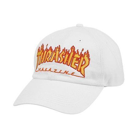 Boné Thrasher Magazine Dad Hat Flame White