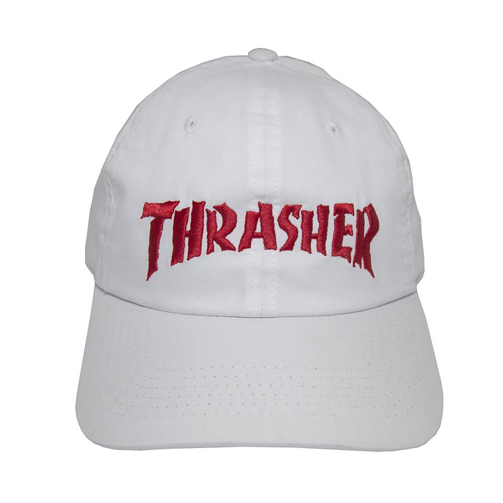 Boné Thrasher Magazine Dad Hat Neckface Invert - Branco/Vermelho