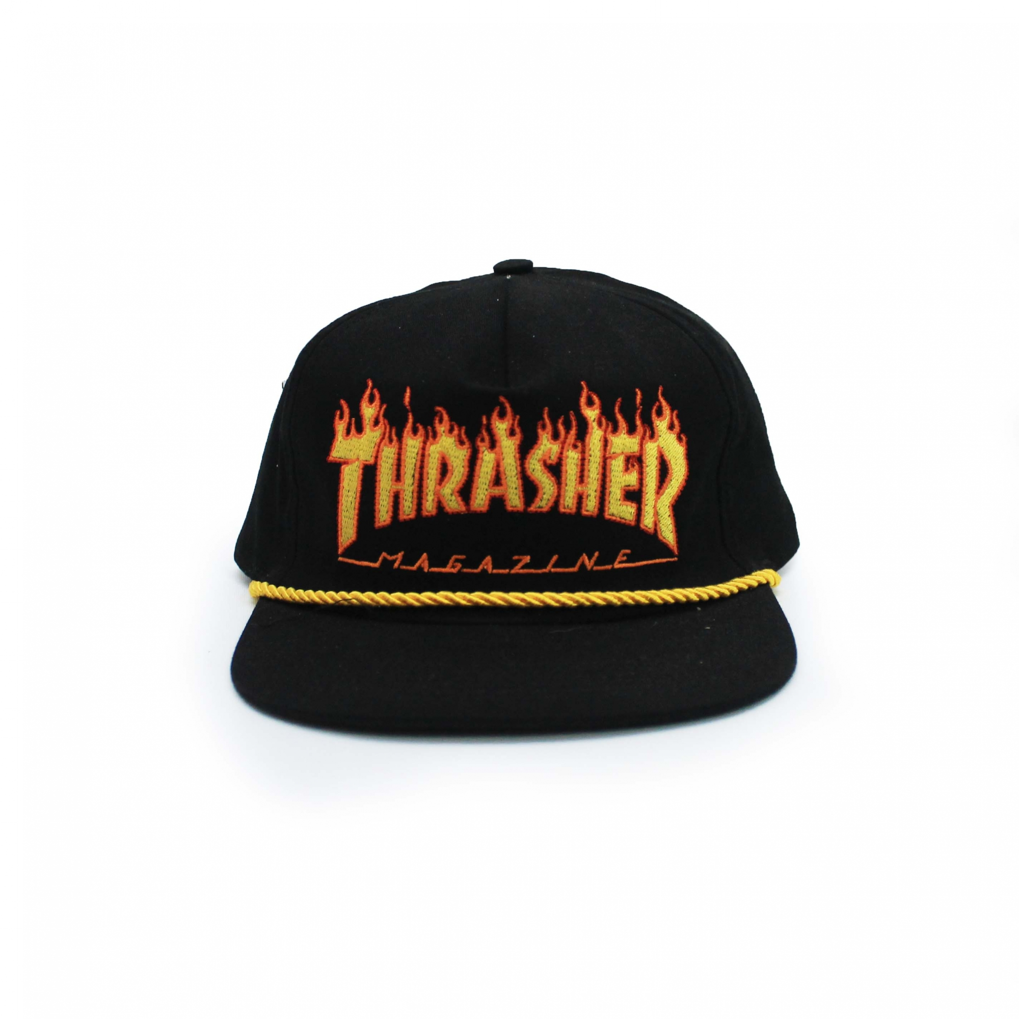 Boné Thrasher Magazine Snapback Flame Rope - Preto