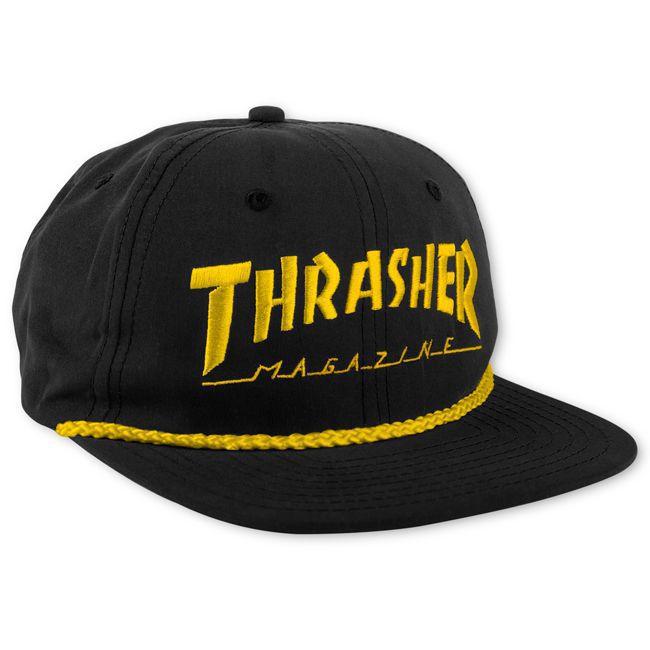 Boné Thrasher Magazine Snapback Logo Rope - Preto/Amarelo