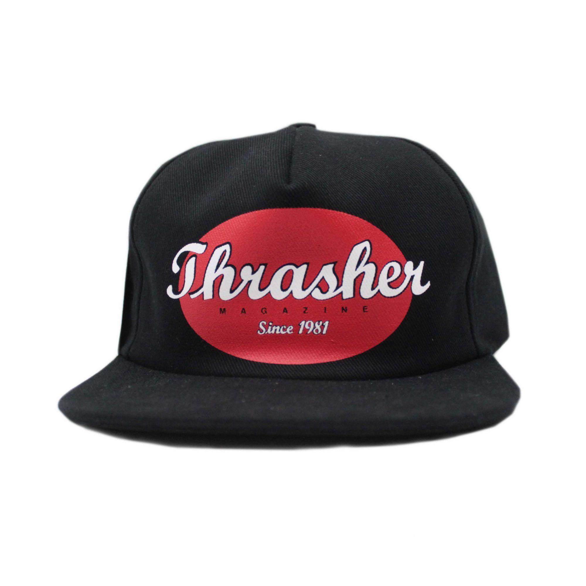 Boné Thrasher Magazine Snapback Oval Script Logo Preto