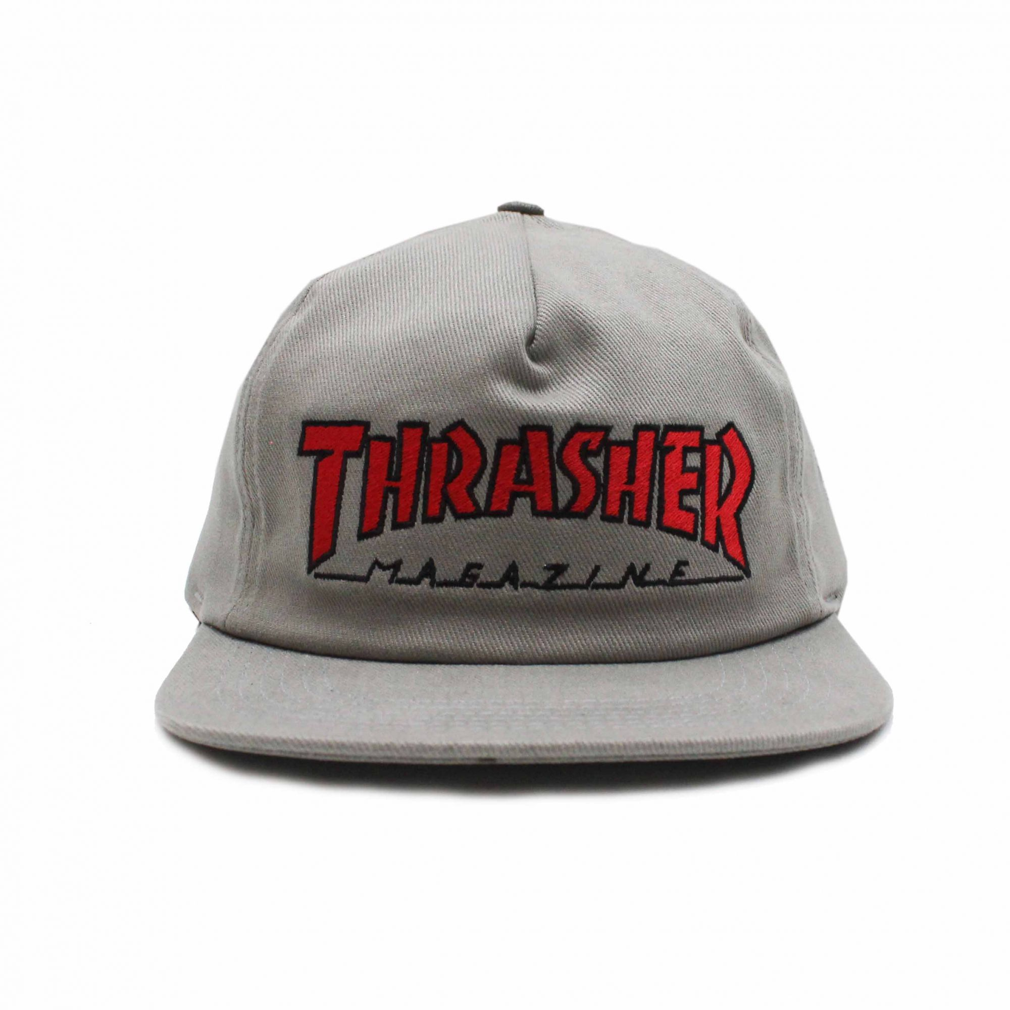 Boné Thrasher Magazine Snapback Red Outlined Cinza