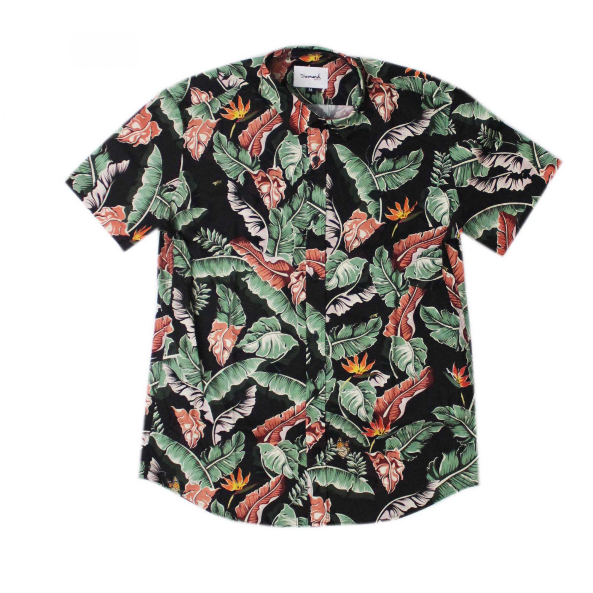 Camisa Diamond Tropical Paradise Preto/Verde