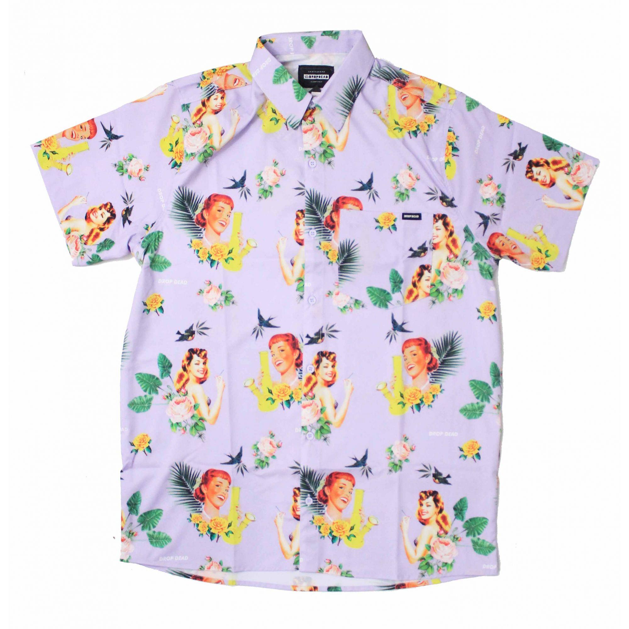 Camisa Drop Dead Tropical Floral - Roxo