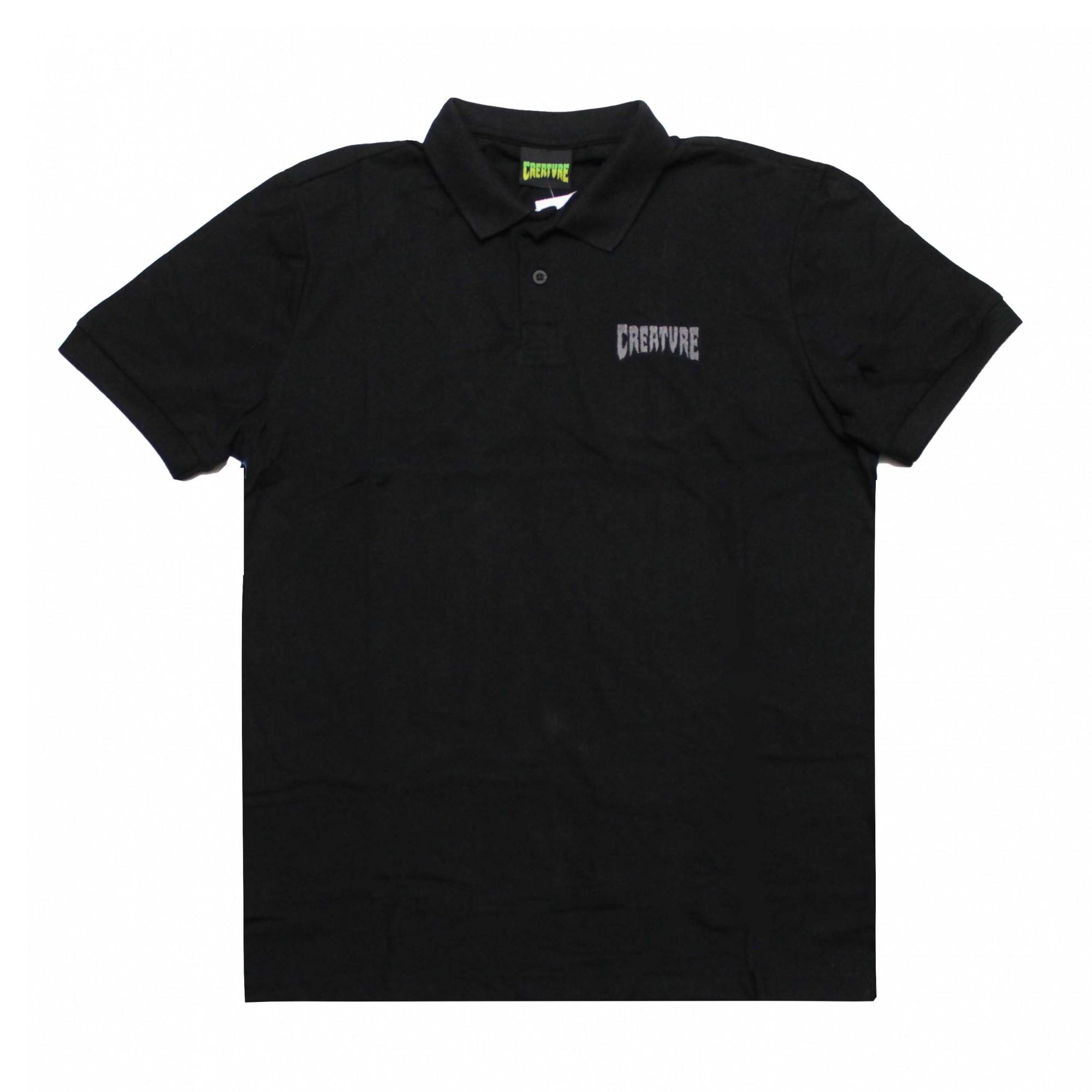 Camisa Polo Creature Mini Logo Bordado Preto