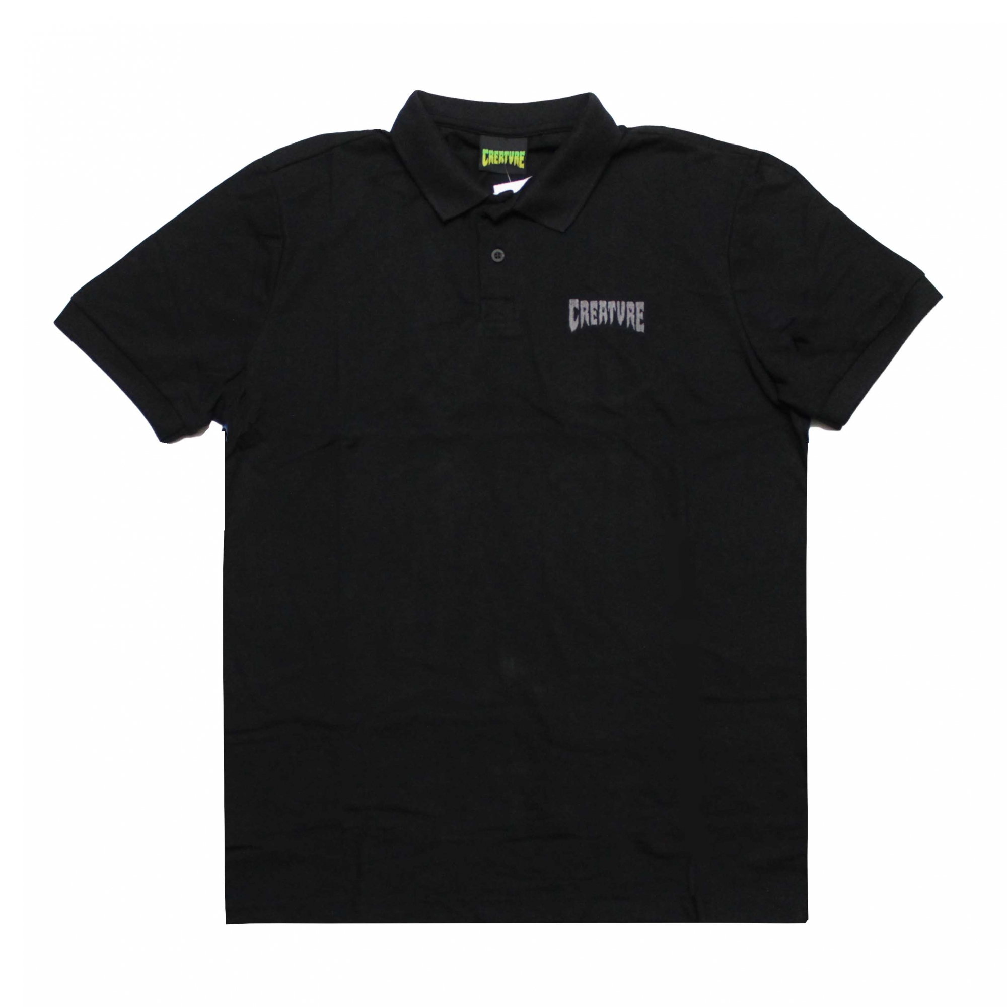 Camisa Polo Creature Mini Logo Bordado - Preto
