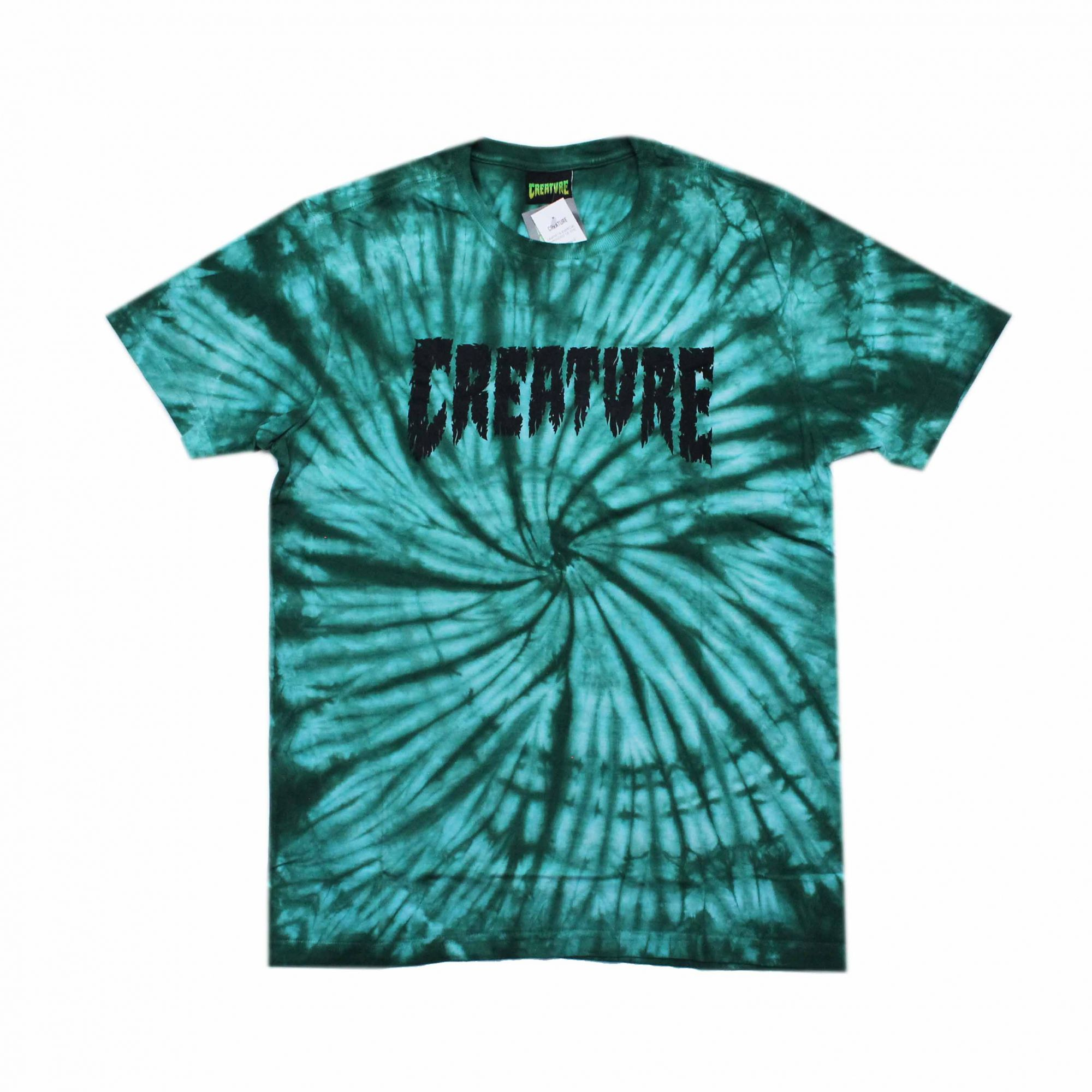 Camiseta Creature Shredded Tie Dye Verde