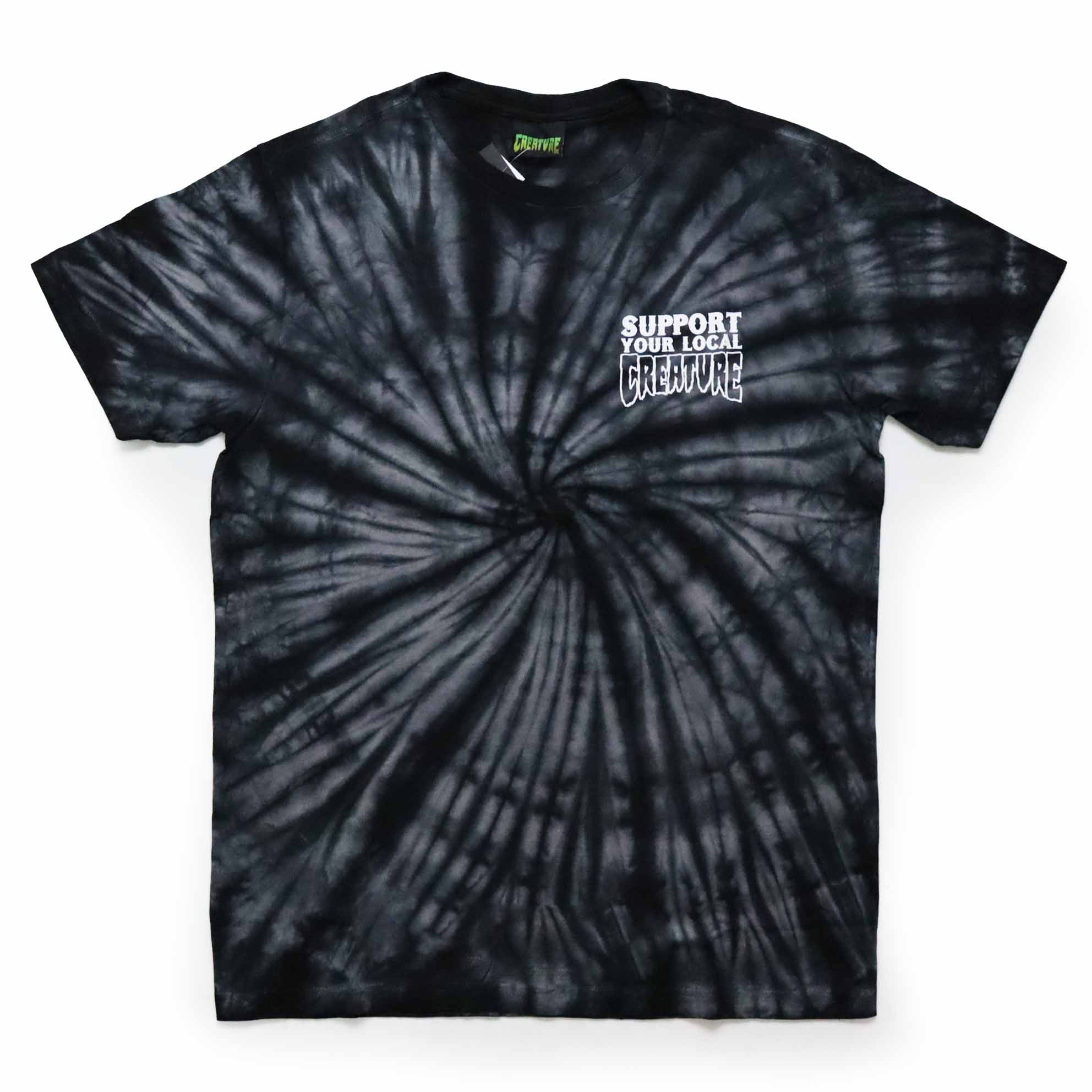 Camiseta Creature Support - Tie Dye Preto