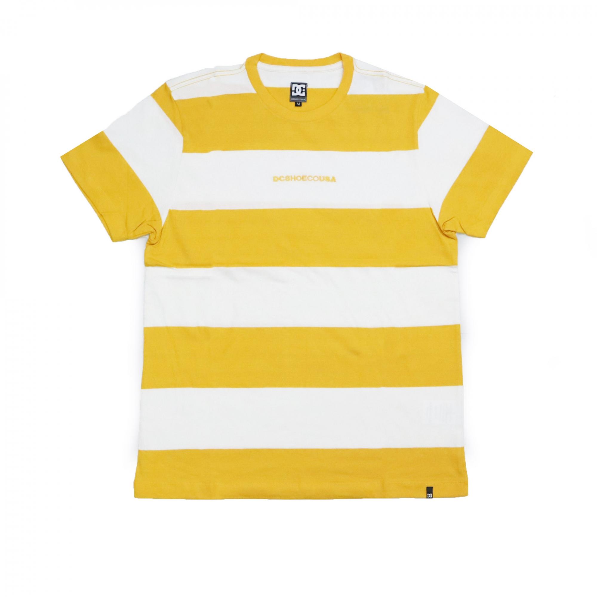 Camiseta DC Shoes Uptown Stripe - Amarelo/Off White