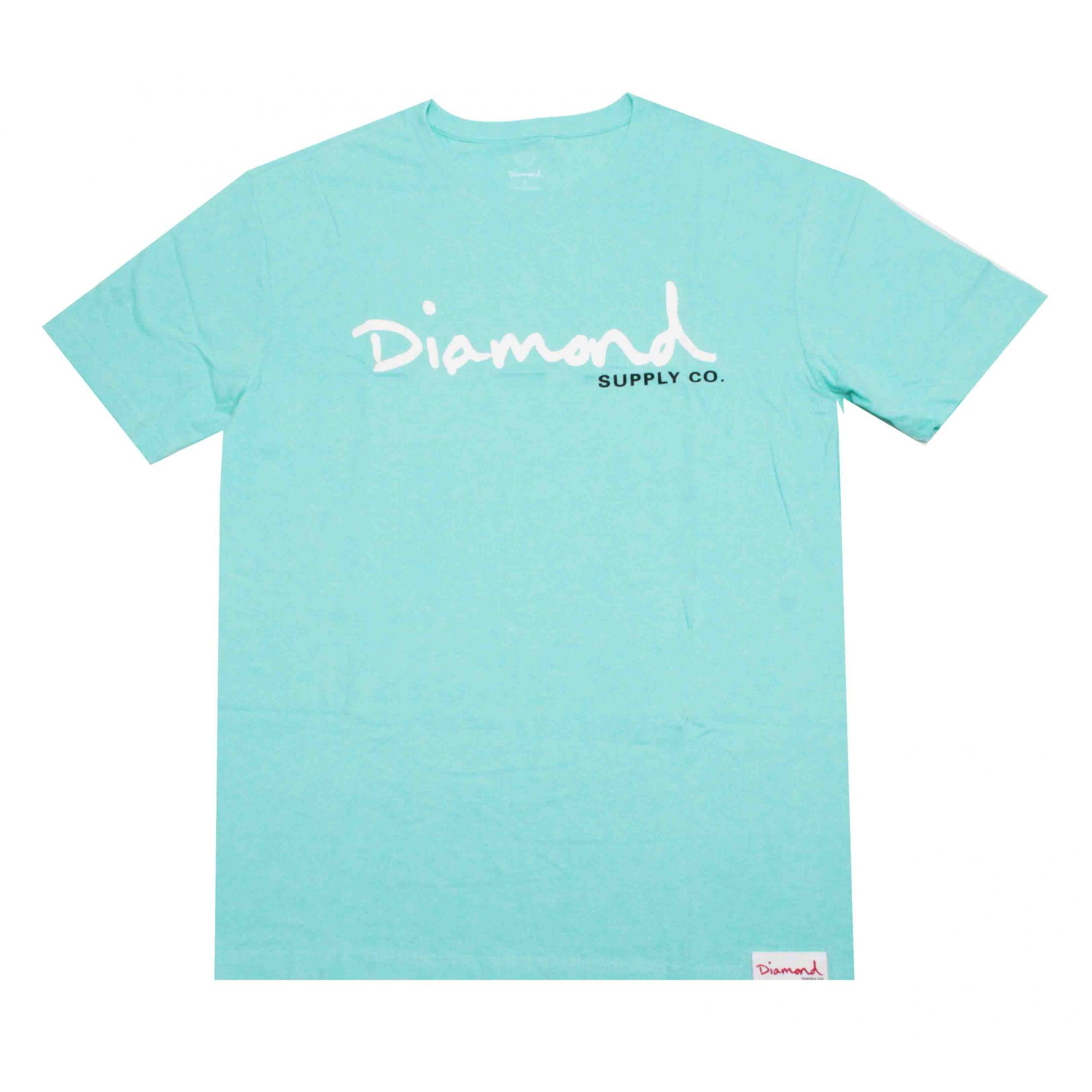Camiseta Diamond Og Script Aqua Blue