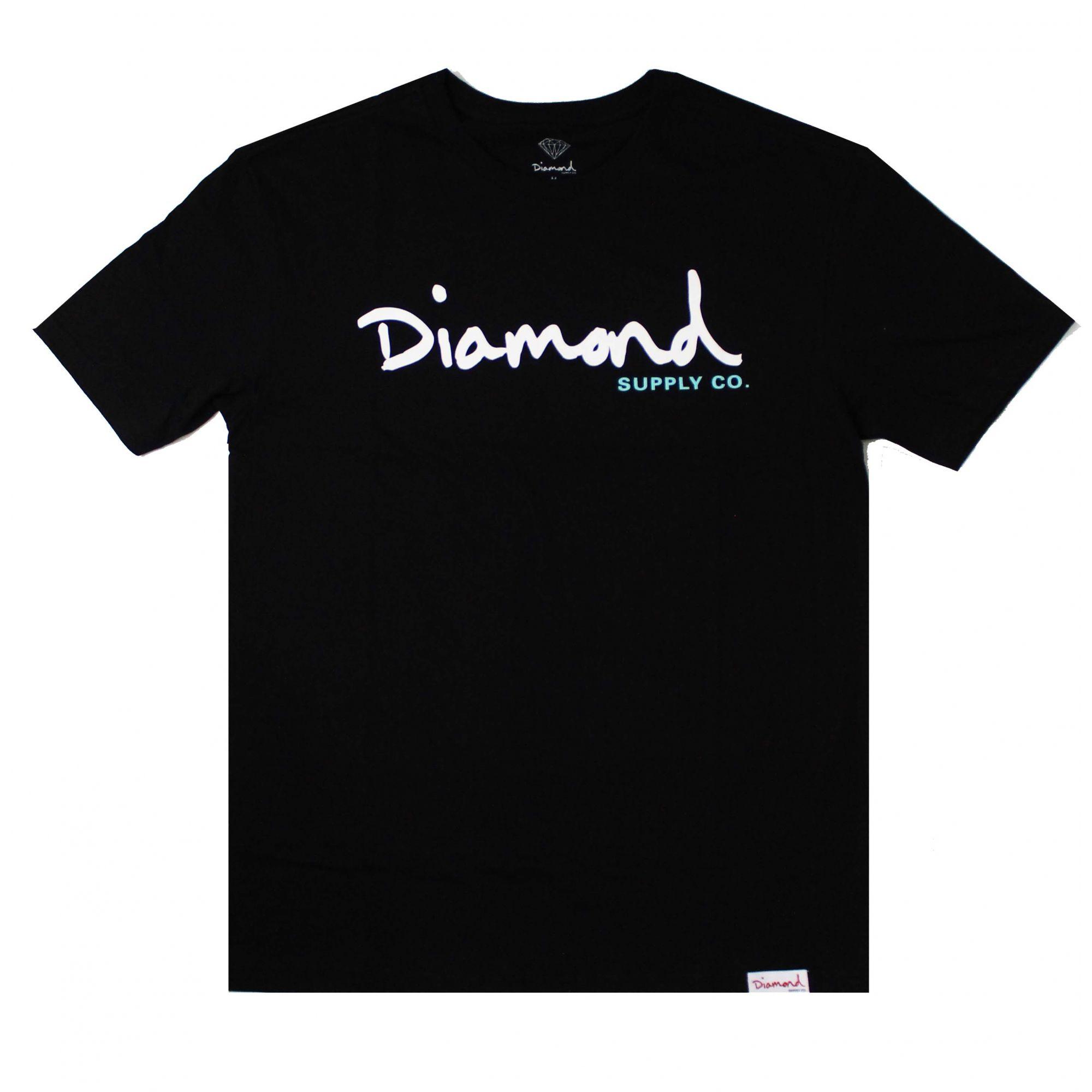 Camiseta Diamond Og Script - Overdye Preto