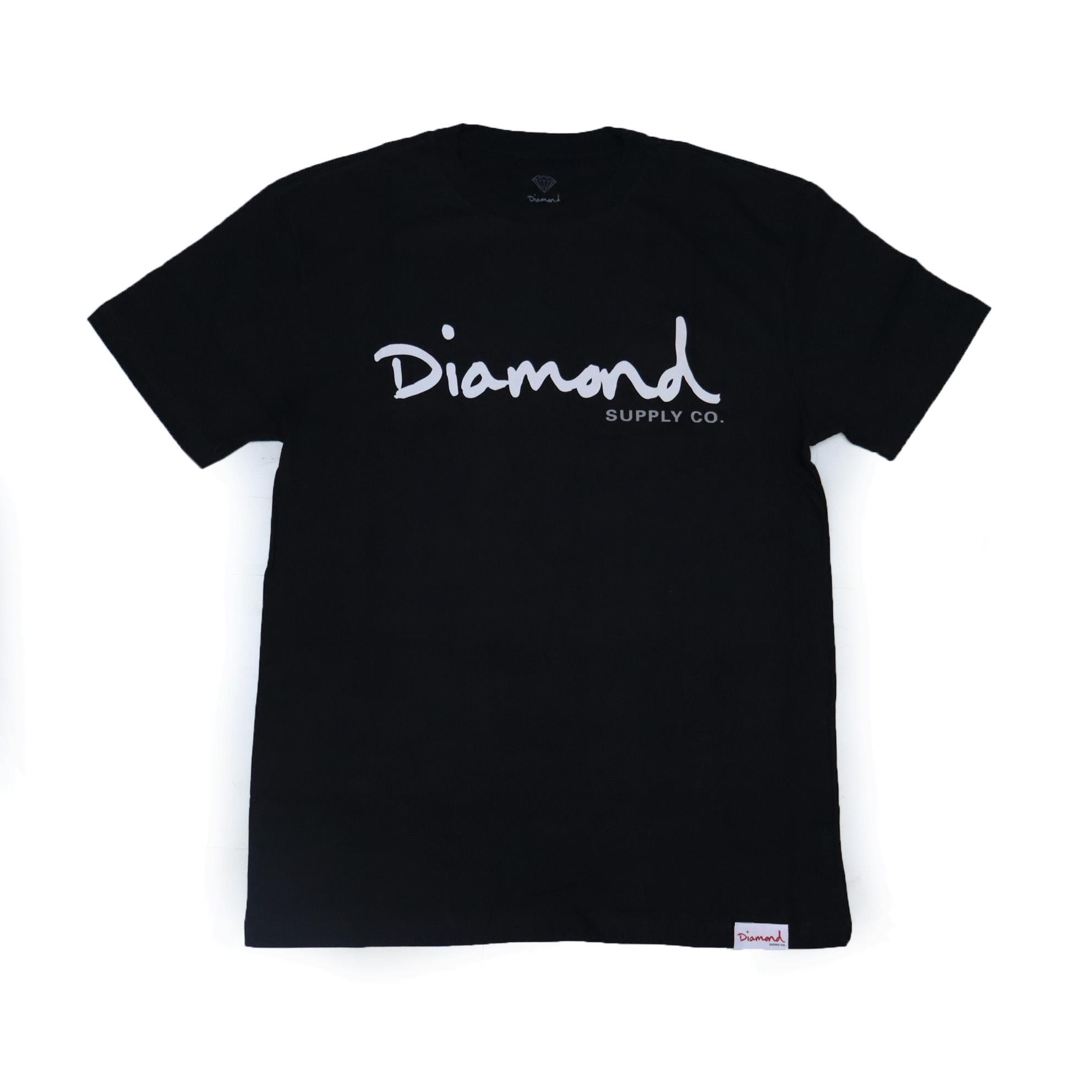 Camiseta Diamond Og Script - Preto/Branco/Cinza