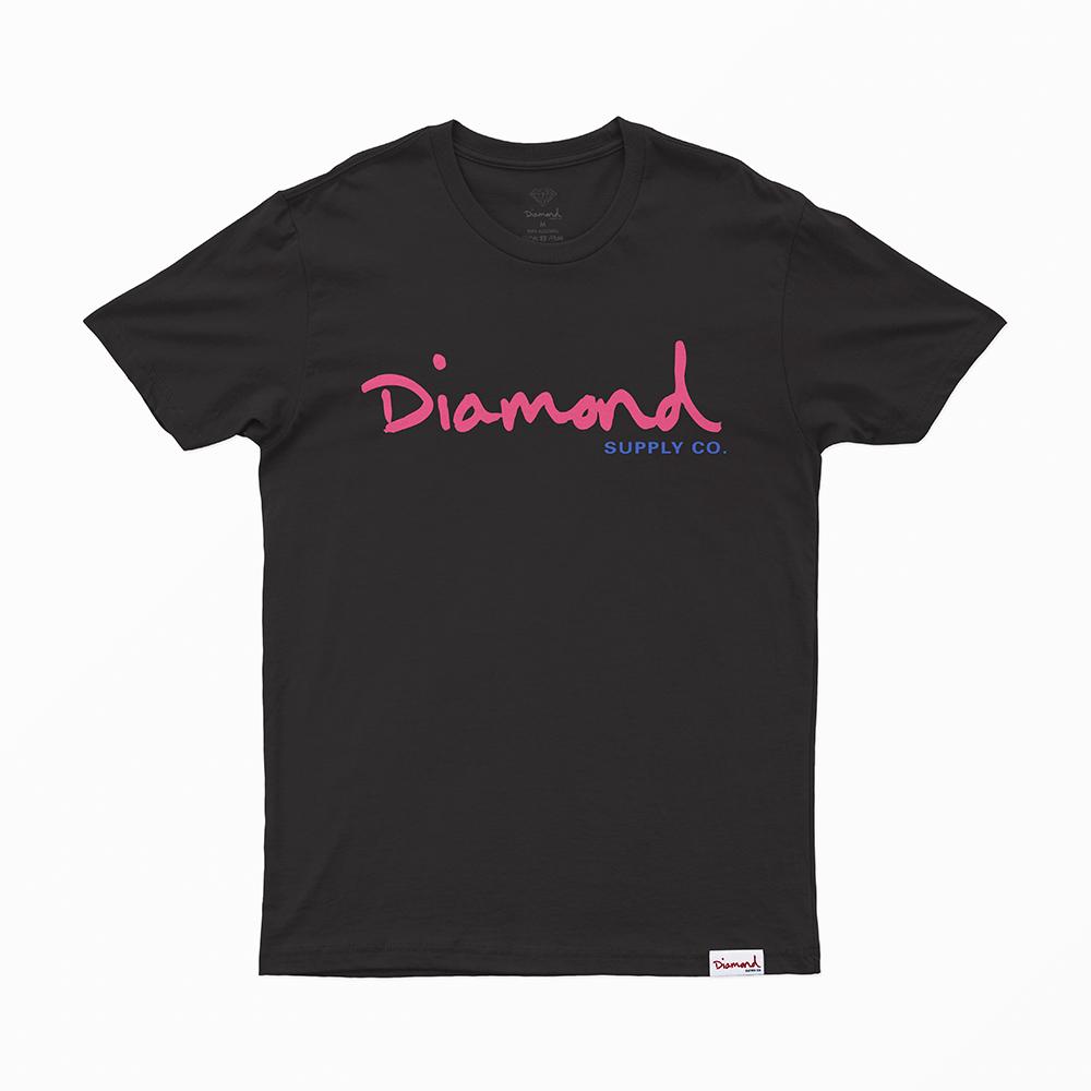 Camiseta Diamond Og Script - Preto/Rosa