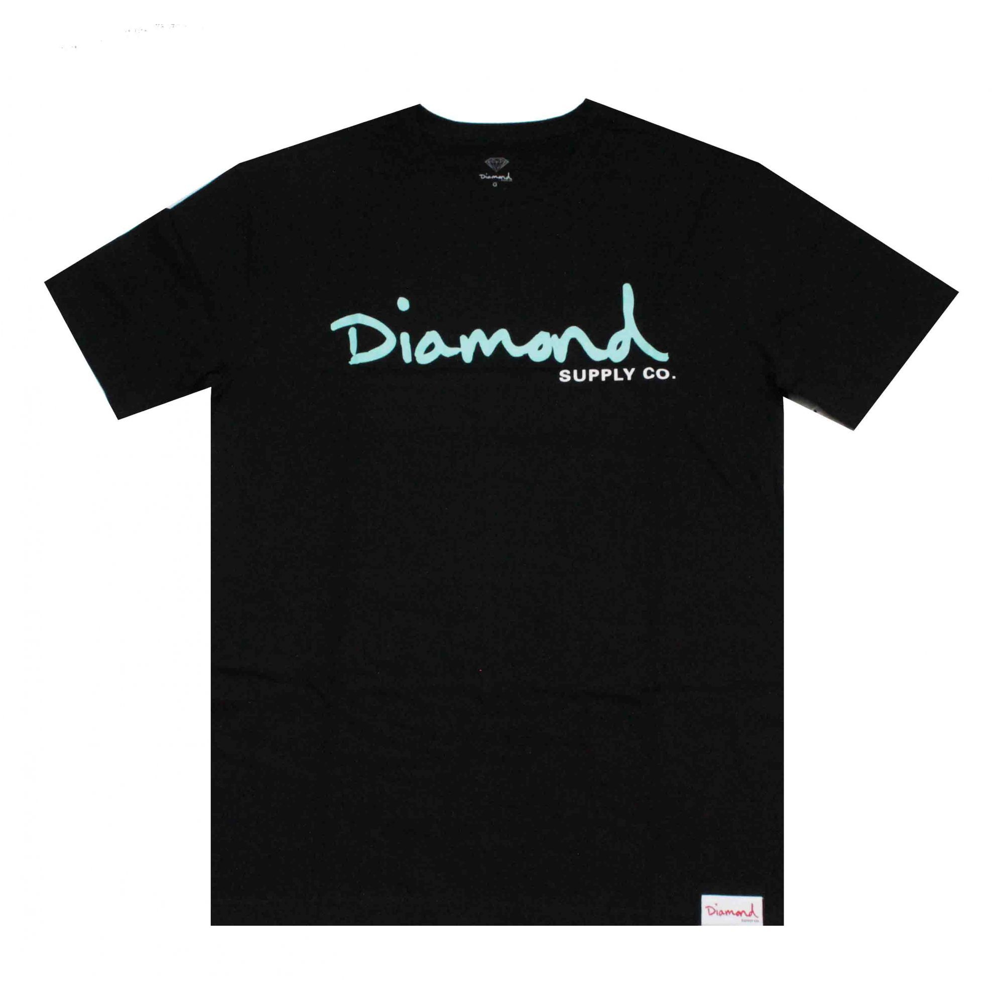 Camiseta Diamond Og Script - Preto/Verde Água