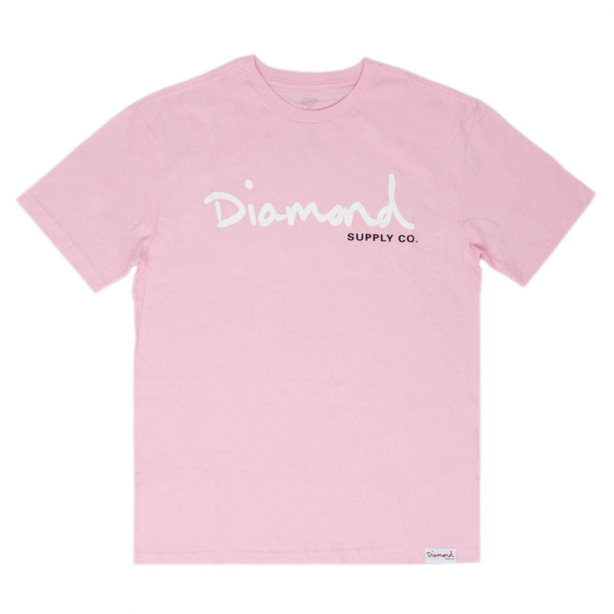 Camiseta Diamond Og Script - Rosa/Branco