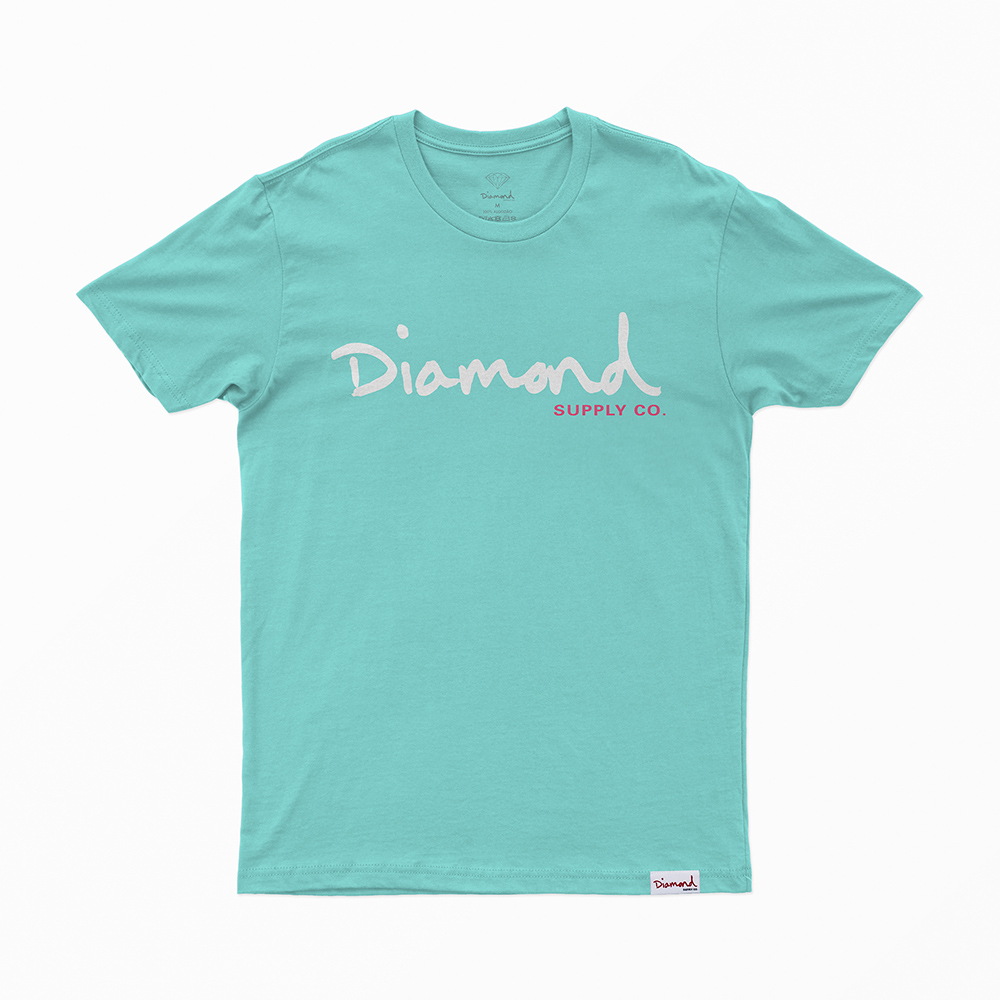 Camiseta Diamond Og Script - Verde Água/Branco
