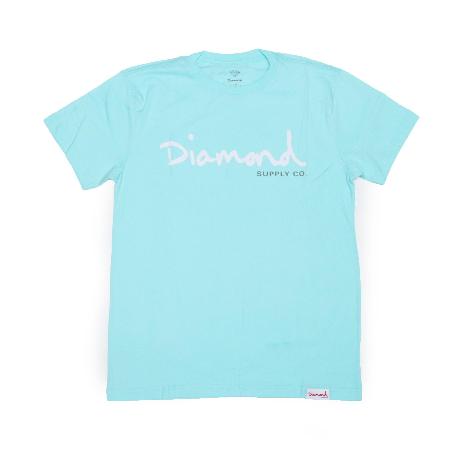 Camiseta Diamond Og Script - Verde Água/Branco/Cinza