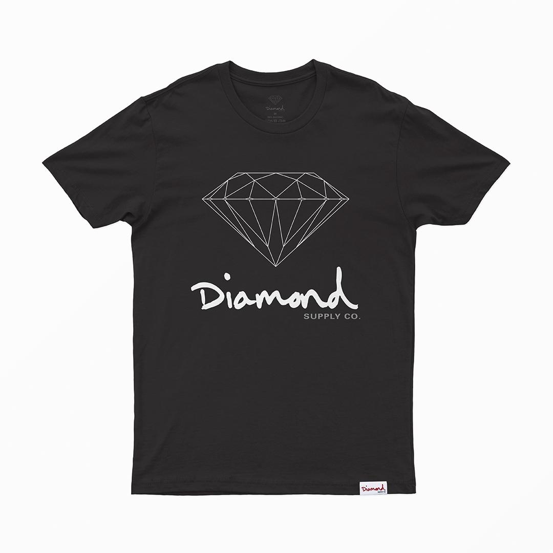 Camiseta Diamond Og Sign - Preto/Branco/Cinza