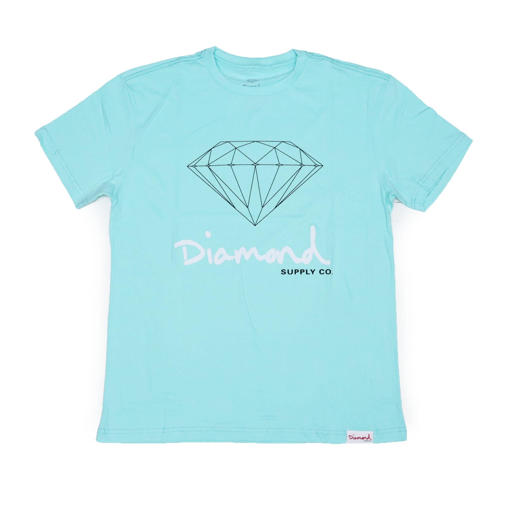 Camiseta Diamond Og Sign - Verde Água/Preto/Branco