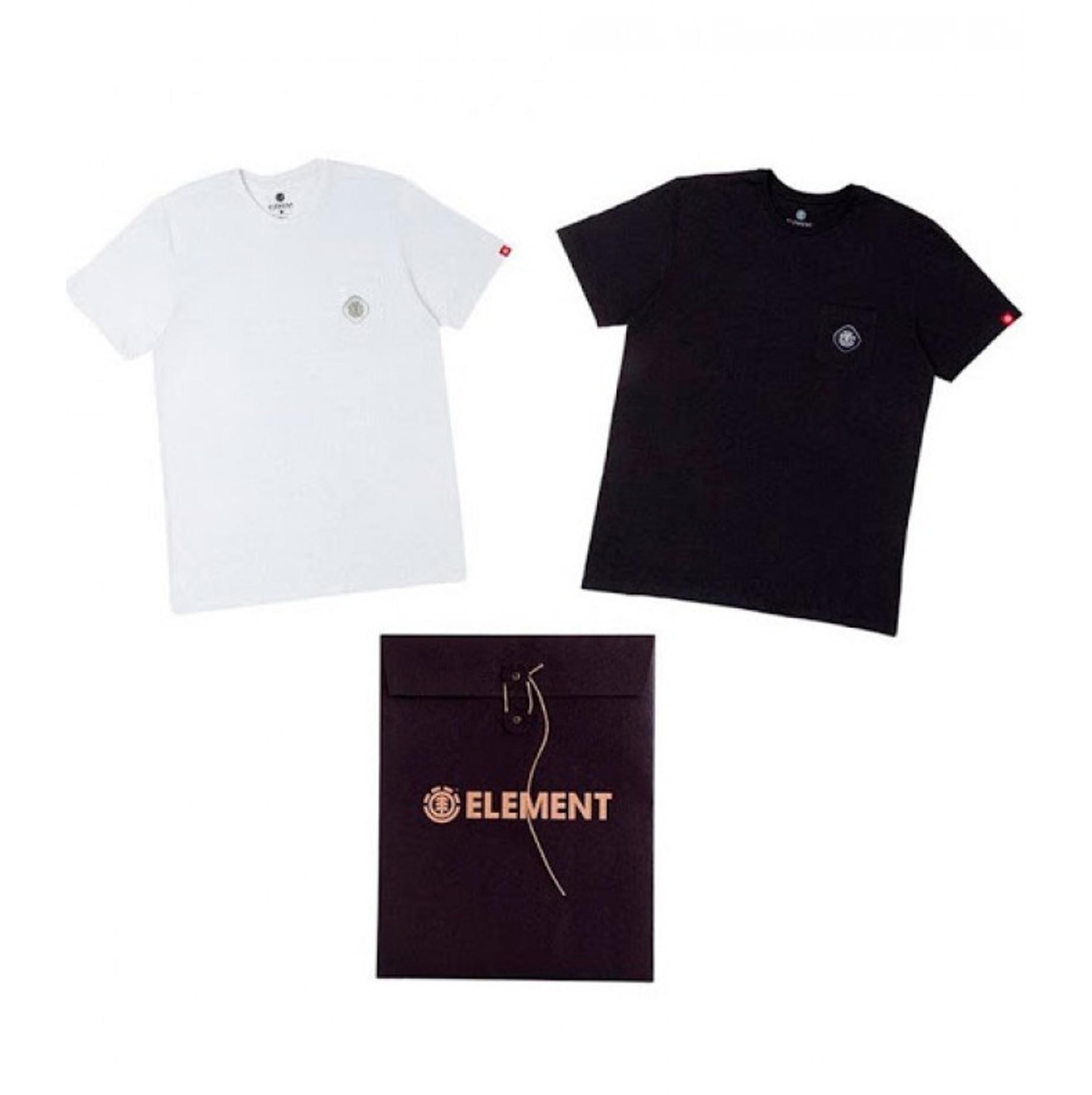 Camiseta Element Duo Mini Logo - Preto/Branco (Pack com 2)