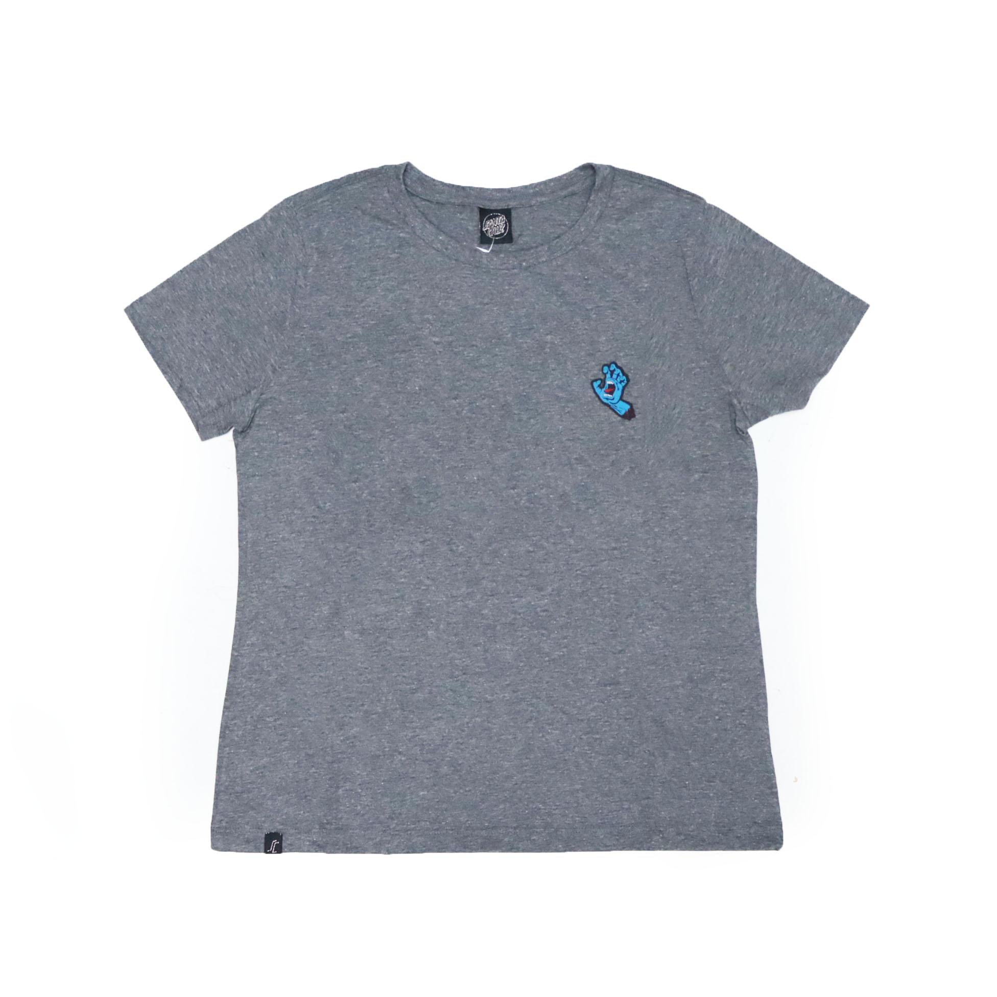 Camiseta Feminina Santa Cruz Hand Chest - Chumbo Mescla/Azul