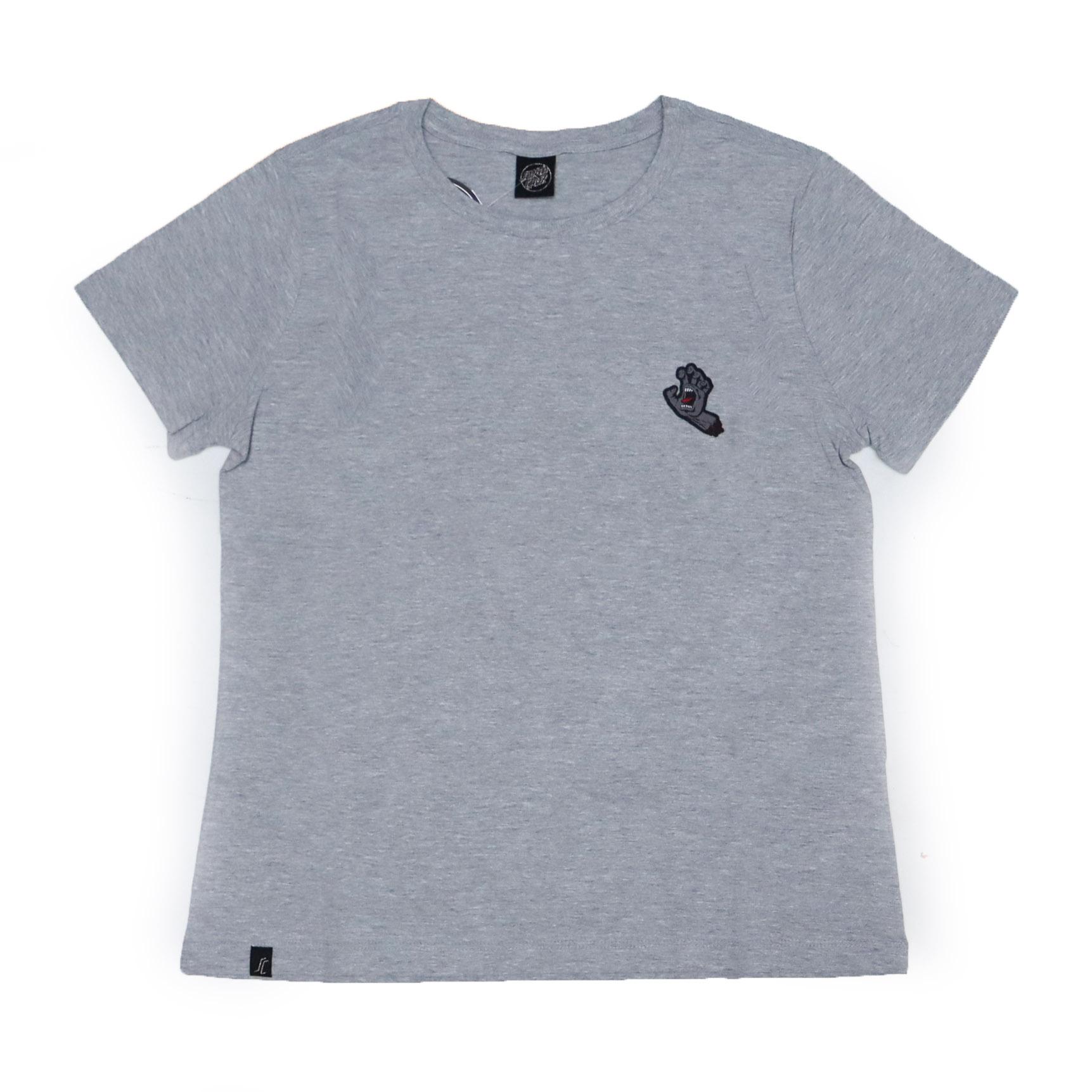 Camiseta Feminina Santa Cruz Hand Chest - Cinza Mescla/Cinza