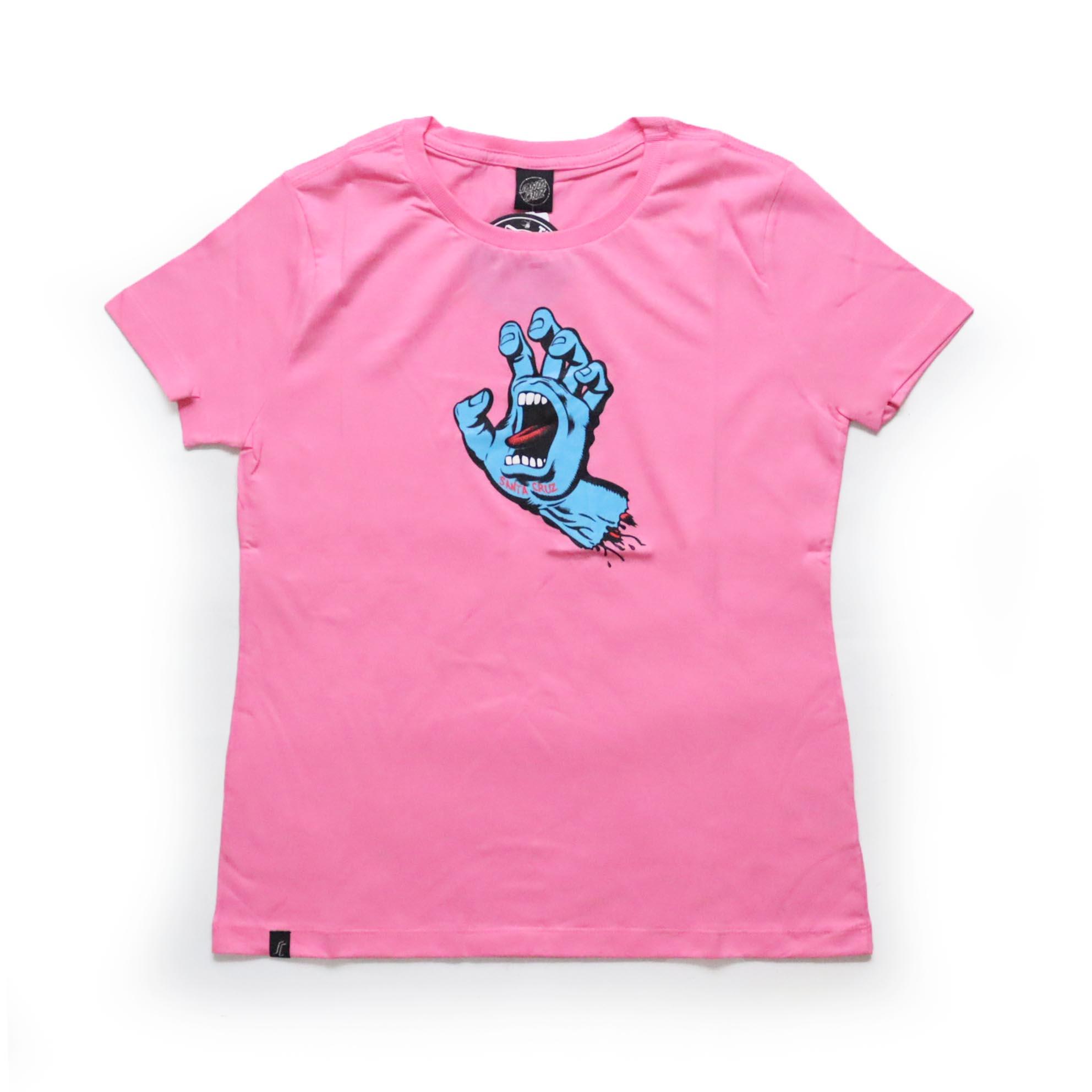 Camiseta Feminina Santa Cruz Screaming Hand - Rosa