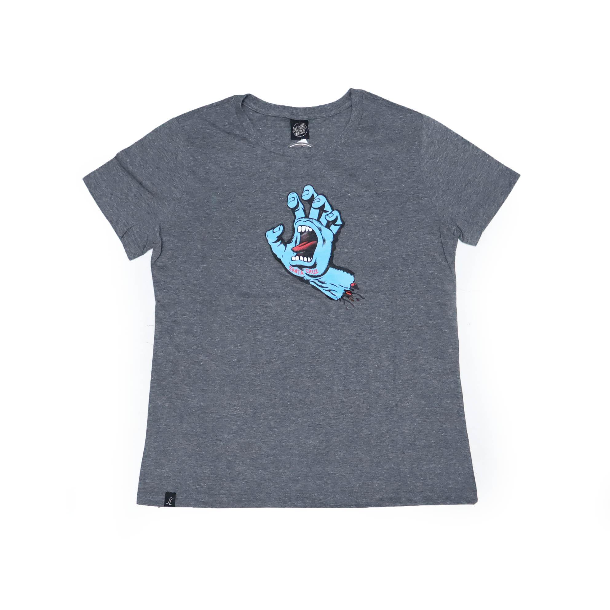 Camiseta Feminina Santa Cruz Sreaming Hand Front - Chumbo Mescla/Azul