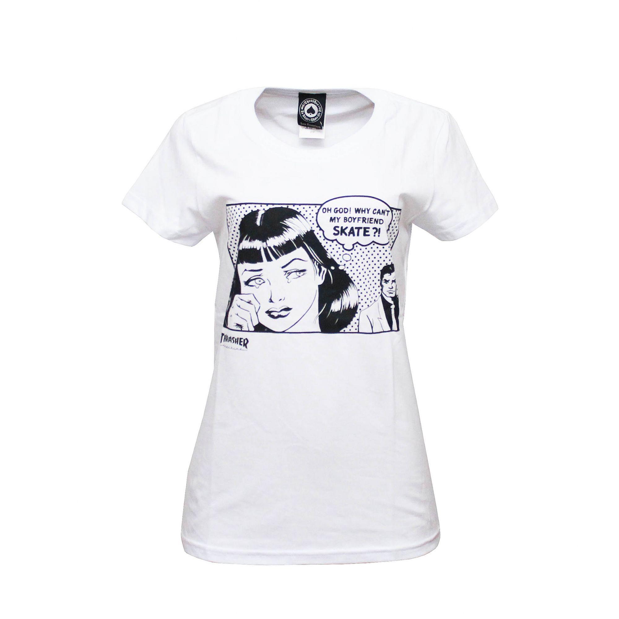 Camiseta Feminina Thrasher Magazine Boyfriend - Branco