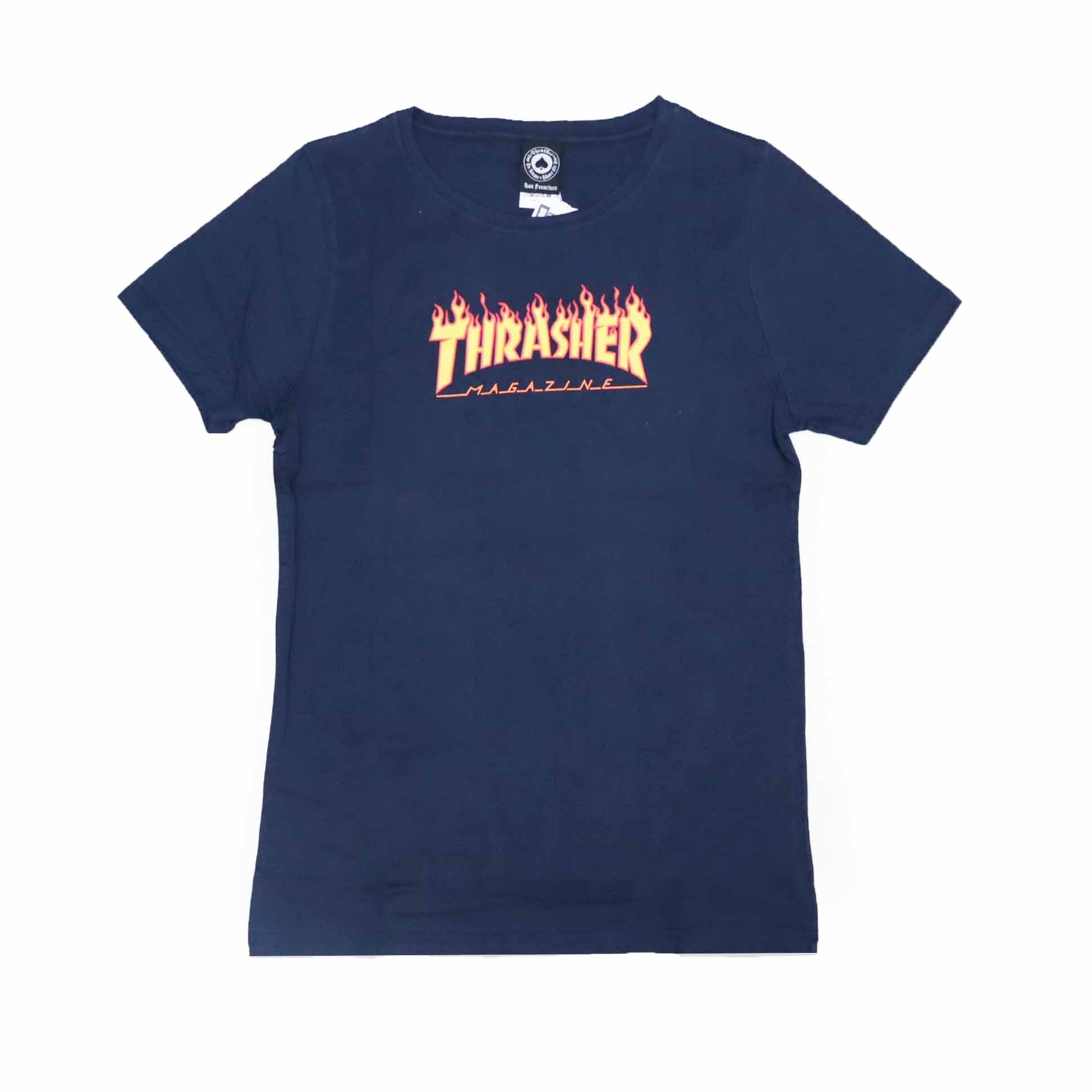 Camiseta Feminina Thrasher Magazine Classic Flame - Azul Marinho