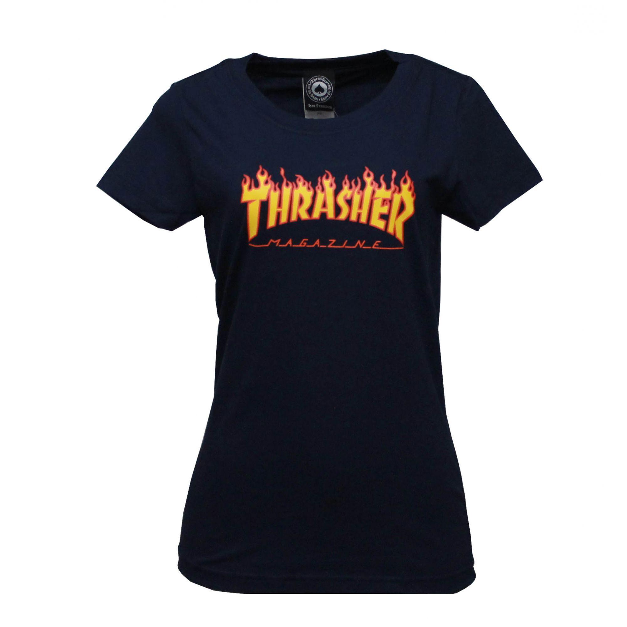 Camiseta Feminina Thrasher Magazine Classic Flame Azul Marinho