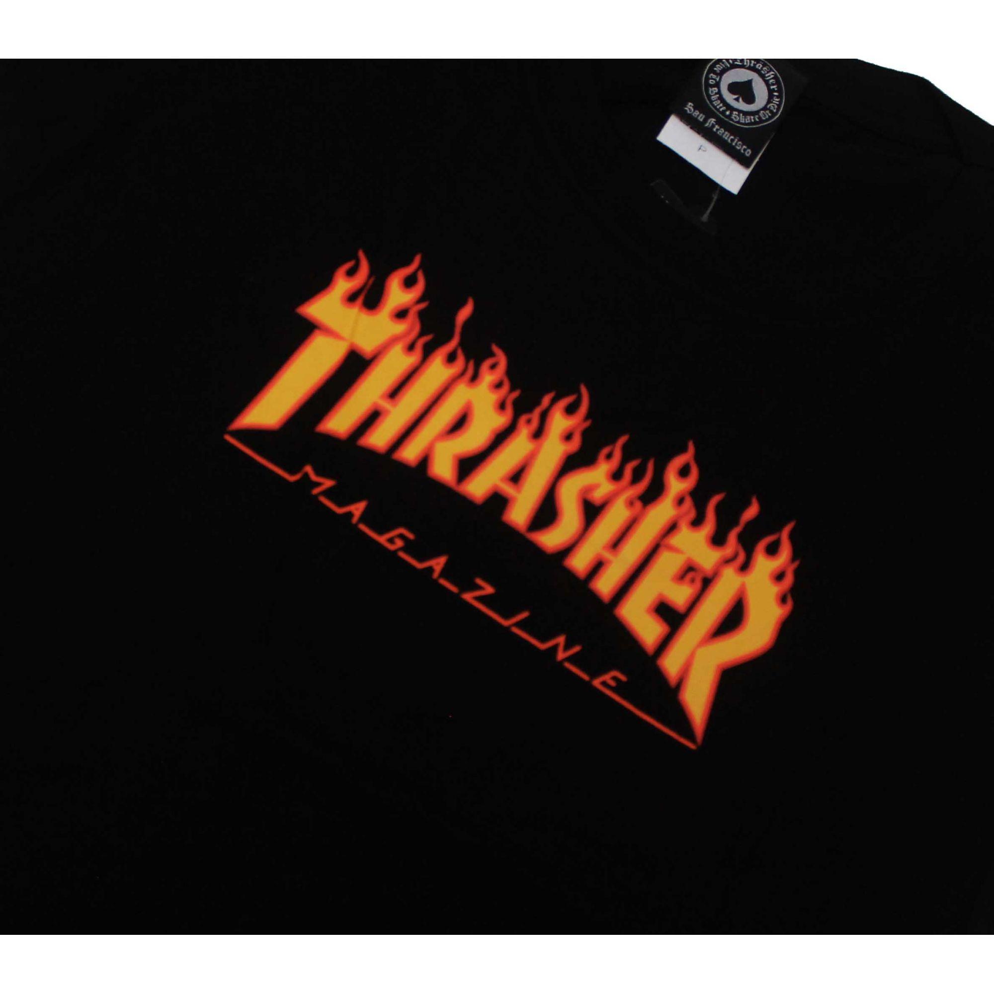 Camiseta Feminina Thrasher Magazine Classic Flame Black