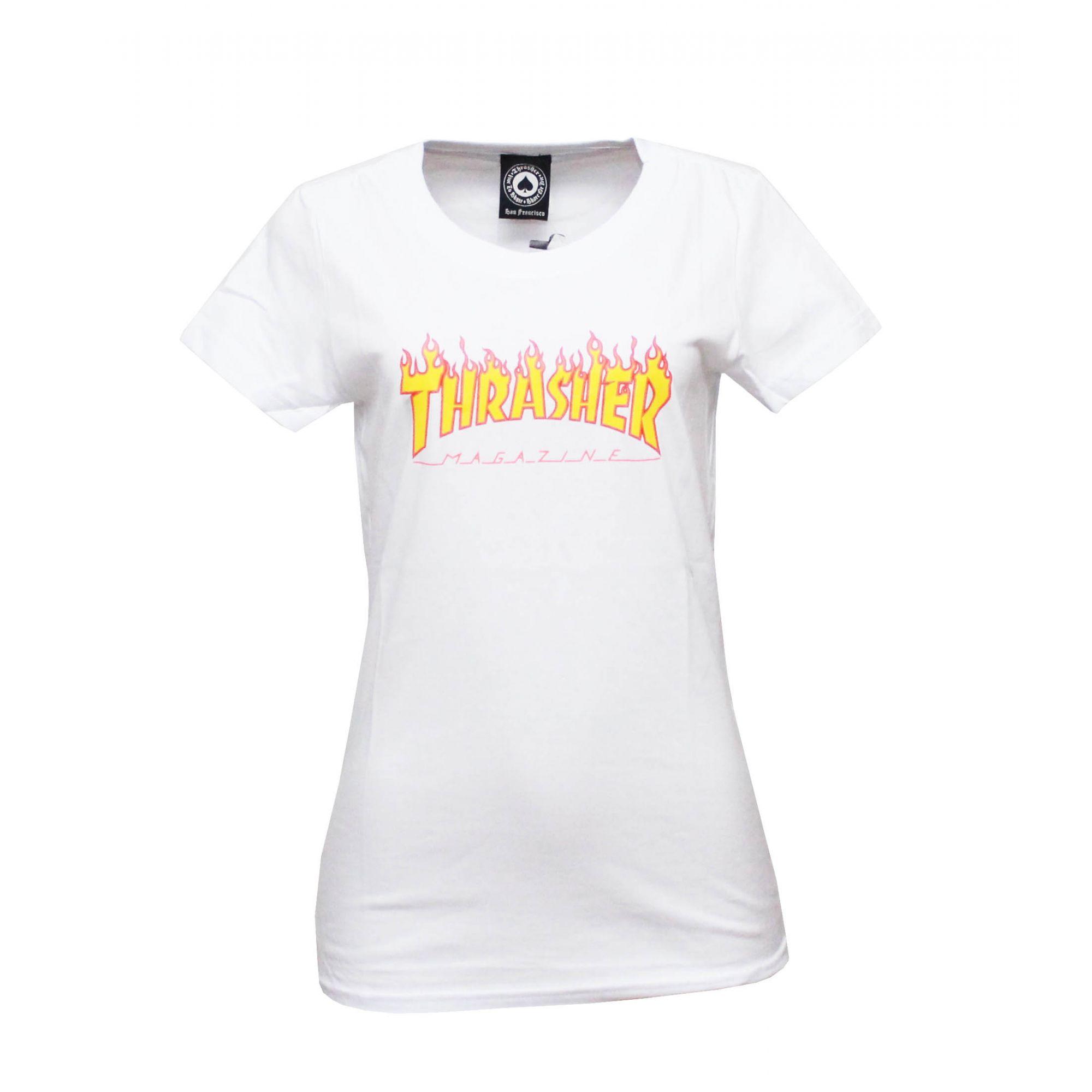 Camiseta Feminina Thrasher Magazine Classic Flame - Branco