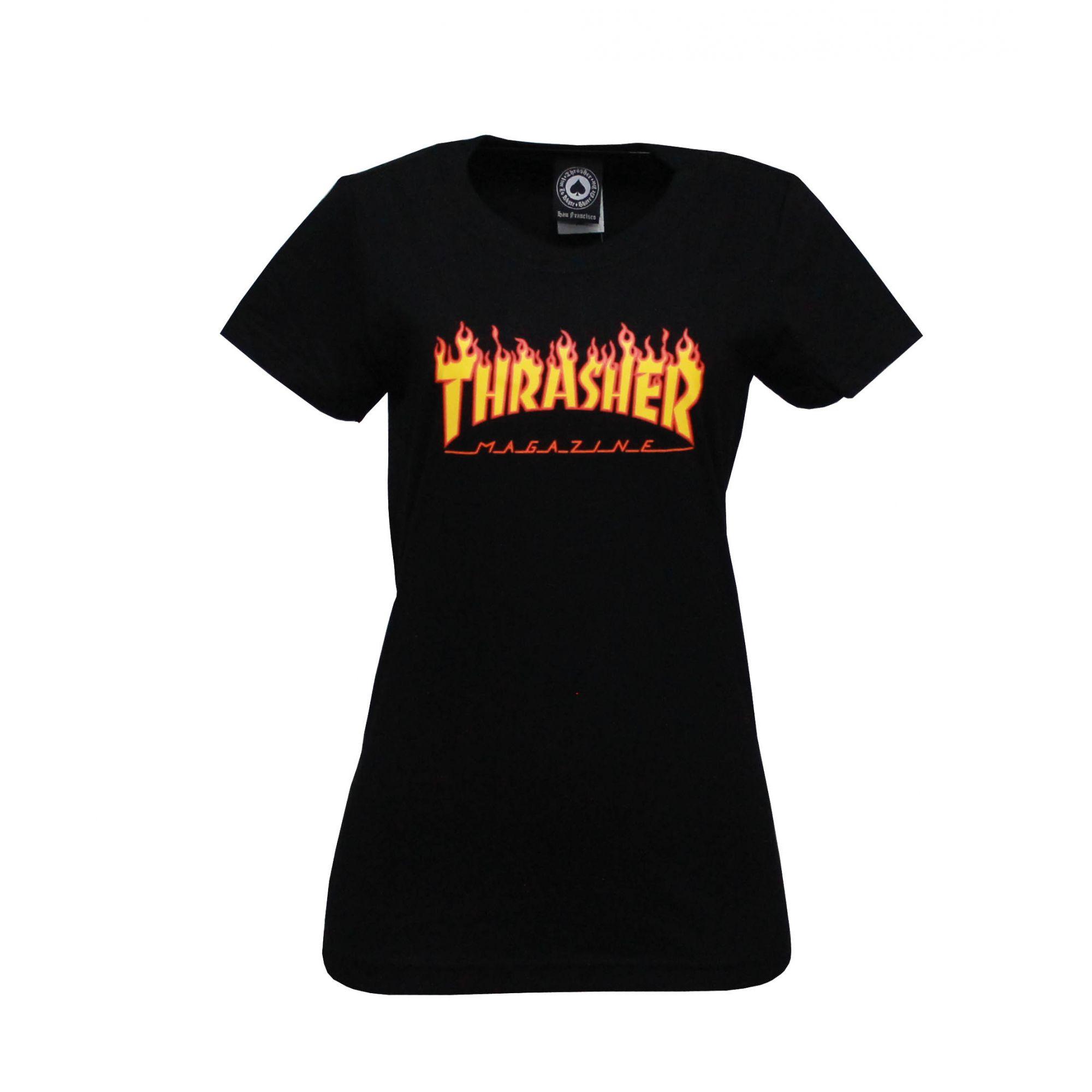 Camiseta Feminina Thrasher Magazine Classic Flame - Preto