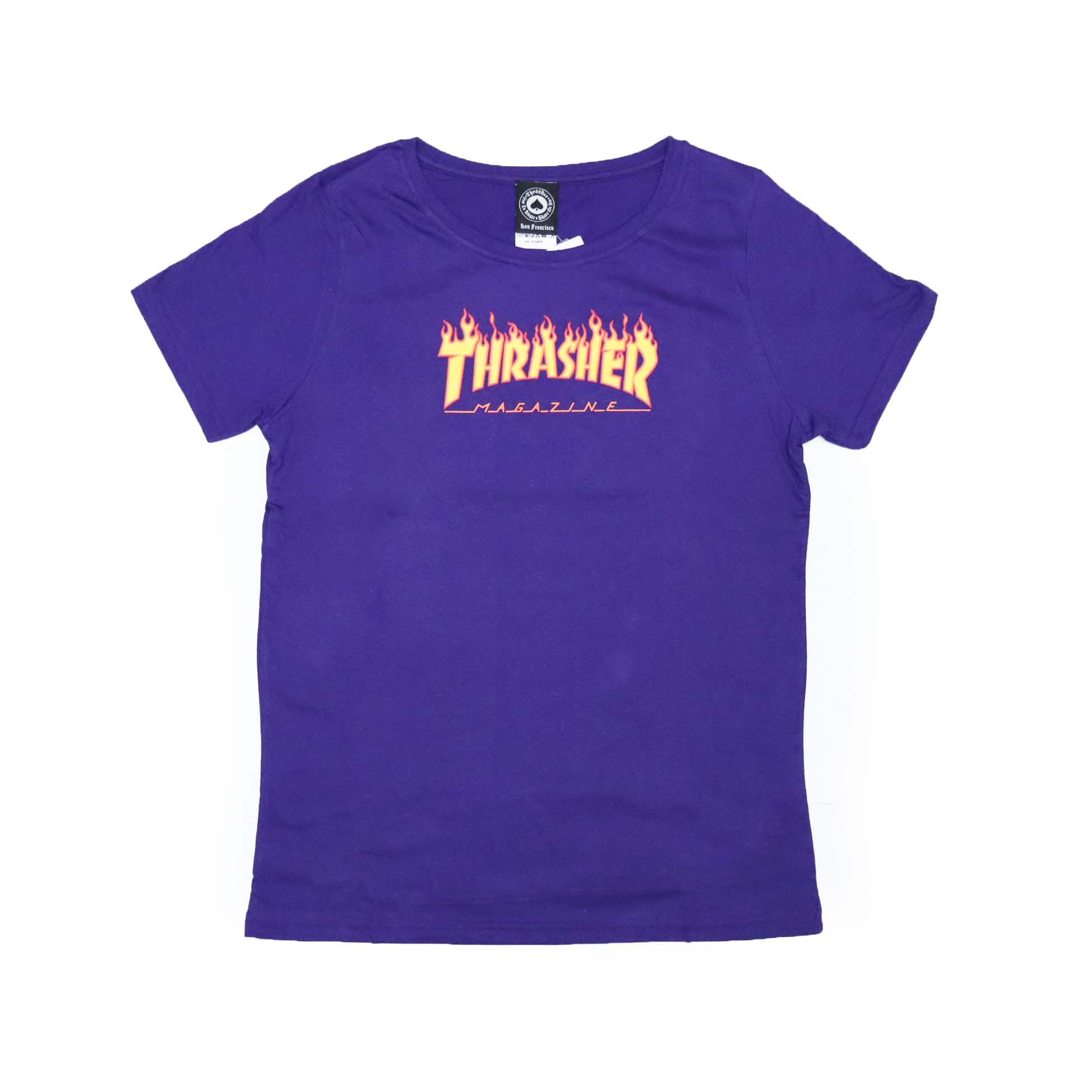 Camiseta Feminina Thrasher Magazine Classic Flame - Roxo