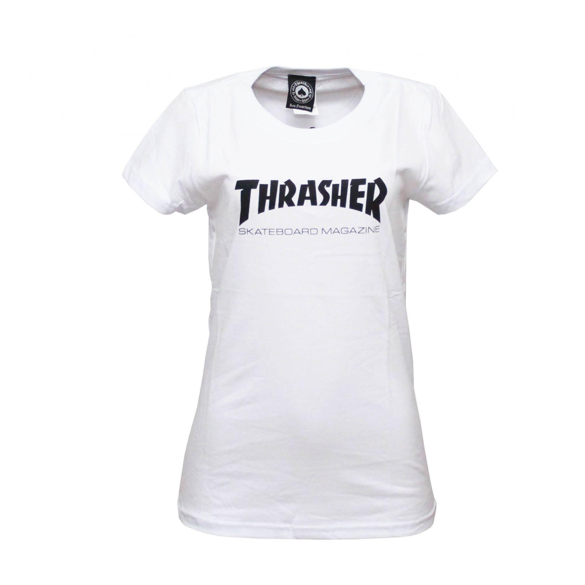 Camiseta Feminina Thrasher Magazine Skate Mag - Branco