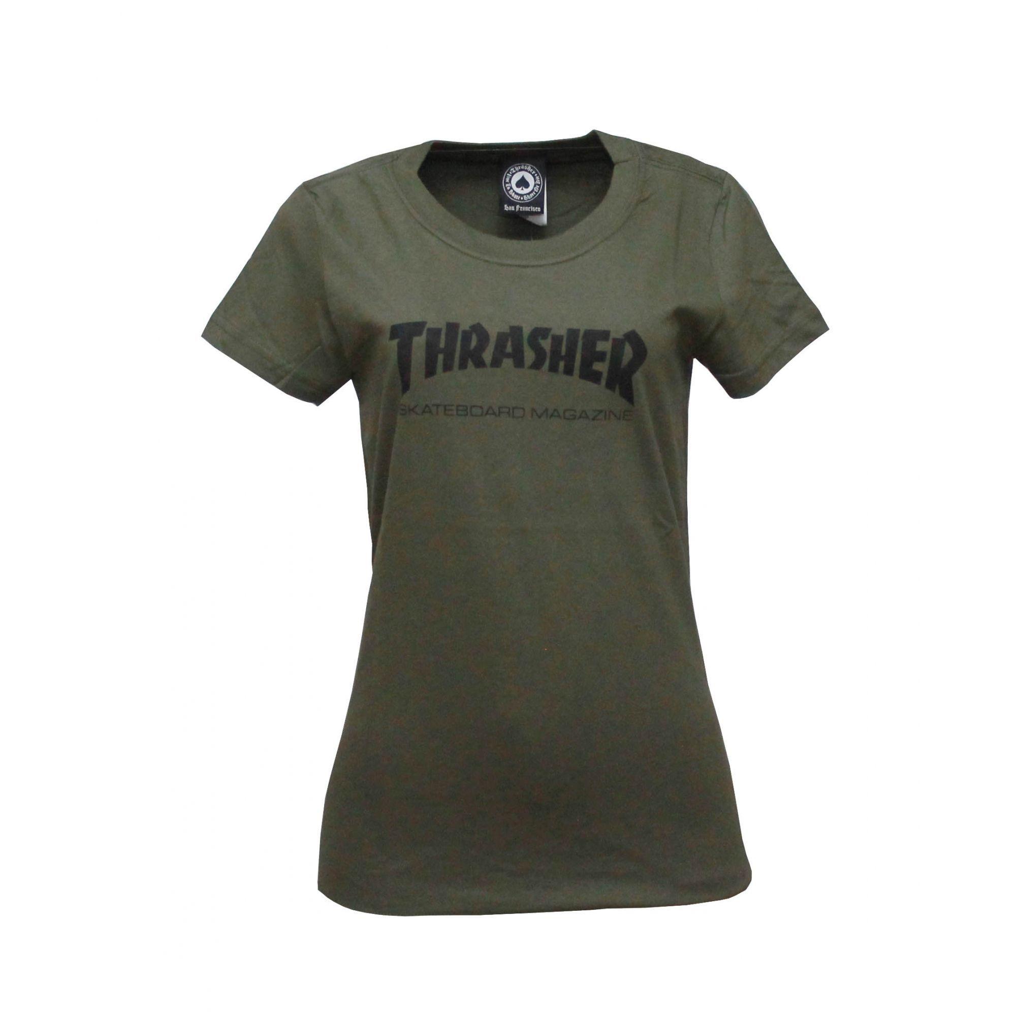Camiseta Feminina Thrasher Magazine Skate Mag - Verde Militar
