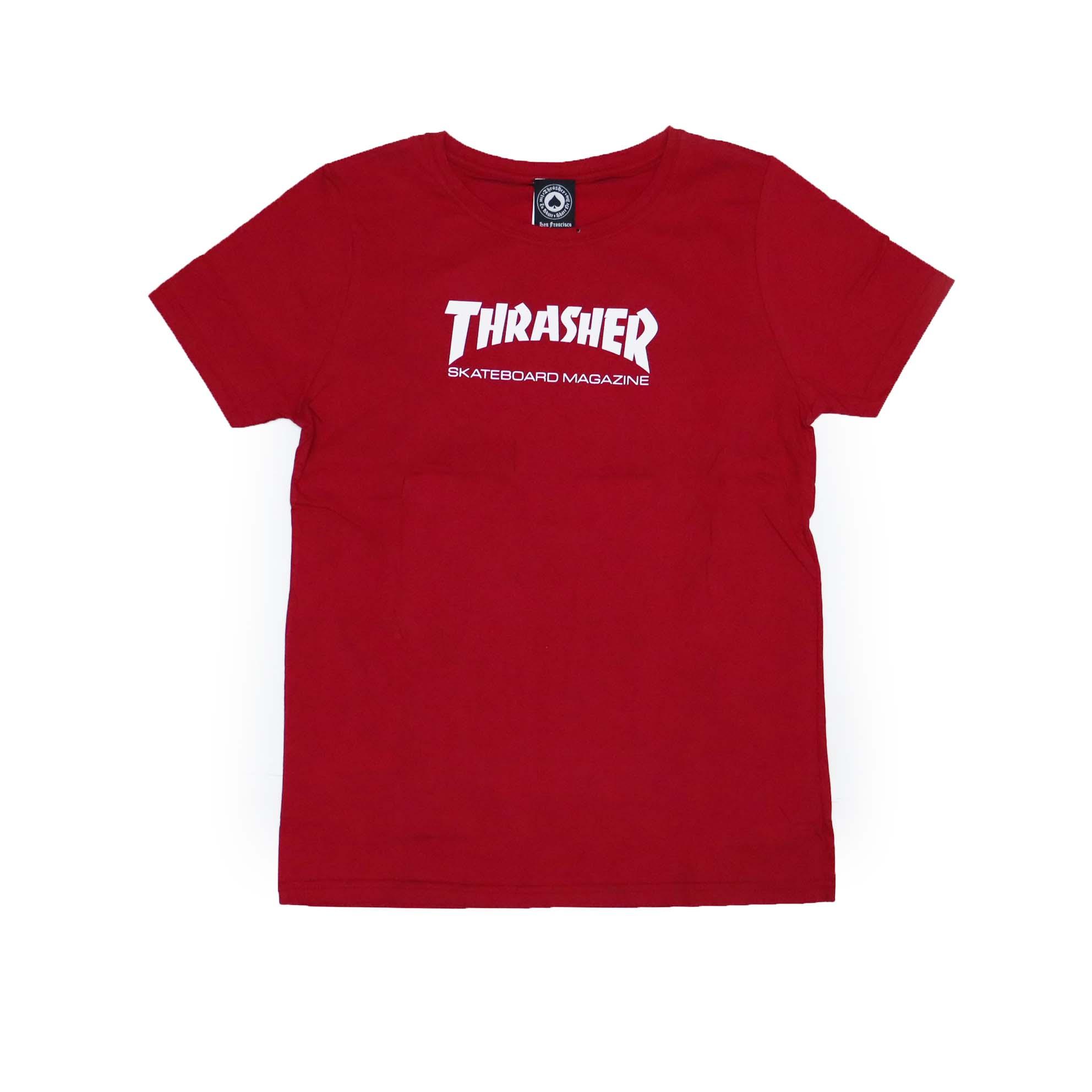 Camiseta Feminina Thrasher Magazine Skate Mag - Vermelho Bordô