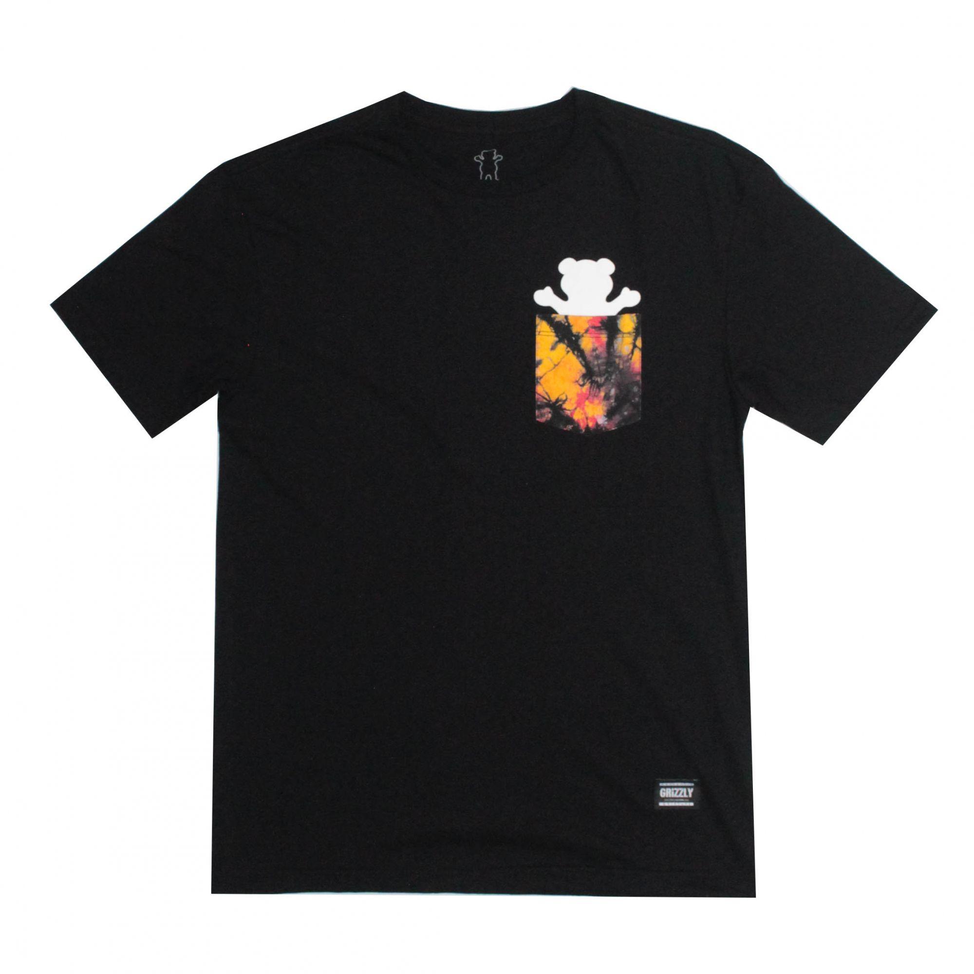 Camiseta Grizzly Bolso Tie Dye Pocket Preto
