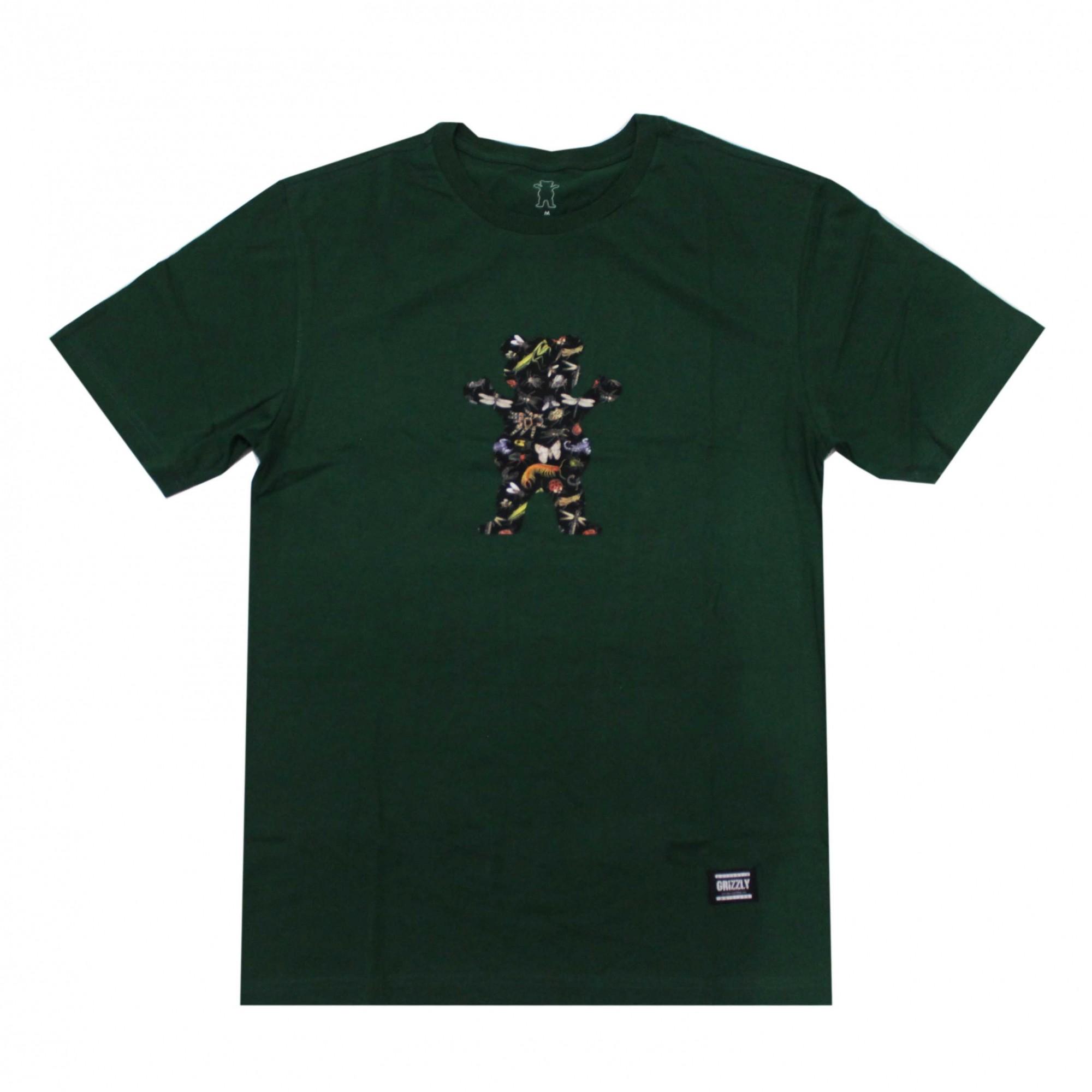 Camiseta Grizzly Boo Bugs Dead - Verde Escuro