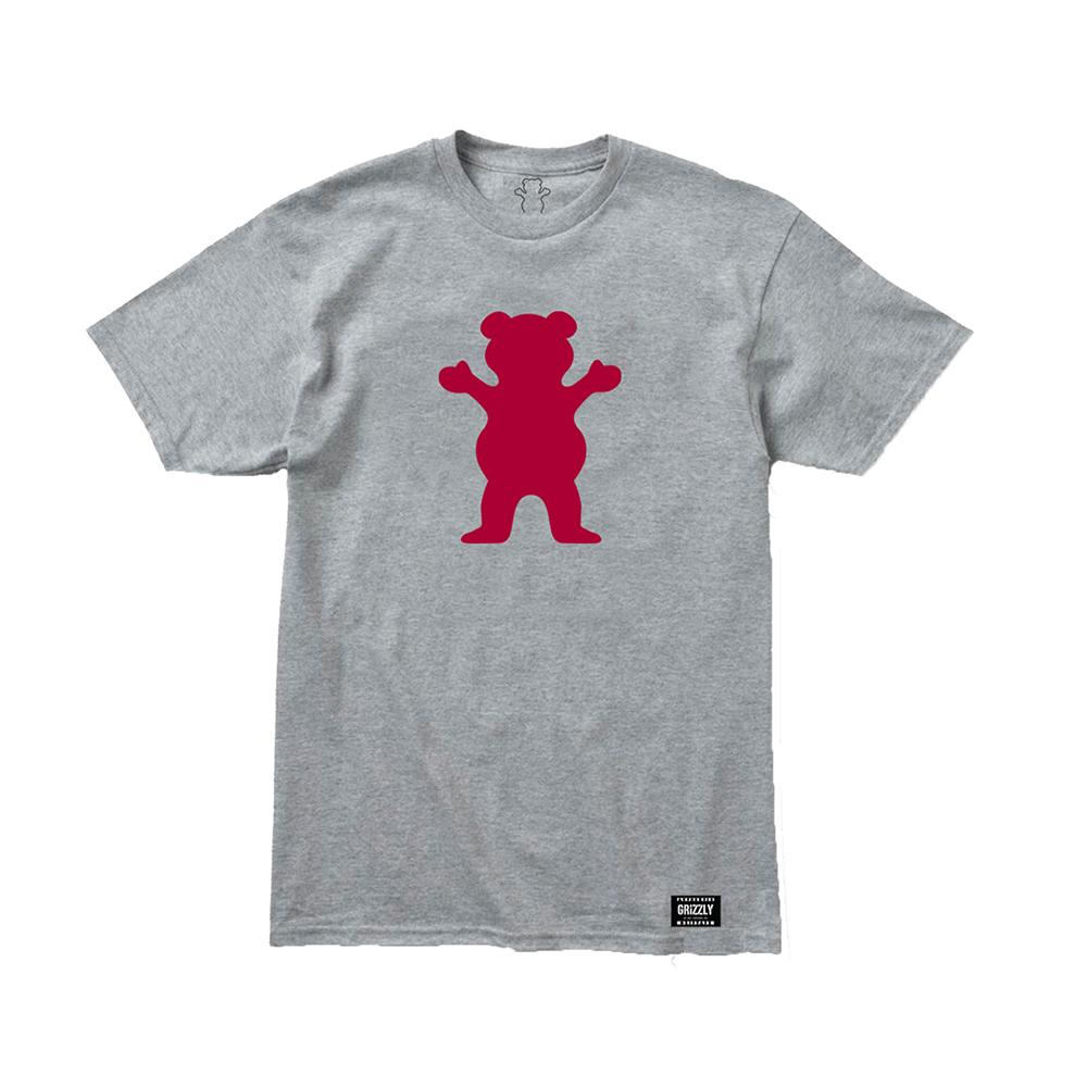 Camiseta Grizzly Og Bear - Cinza Mescla/Vermelho